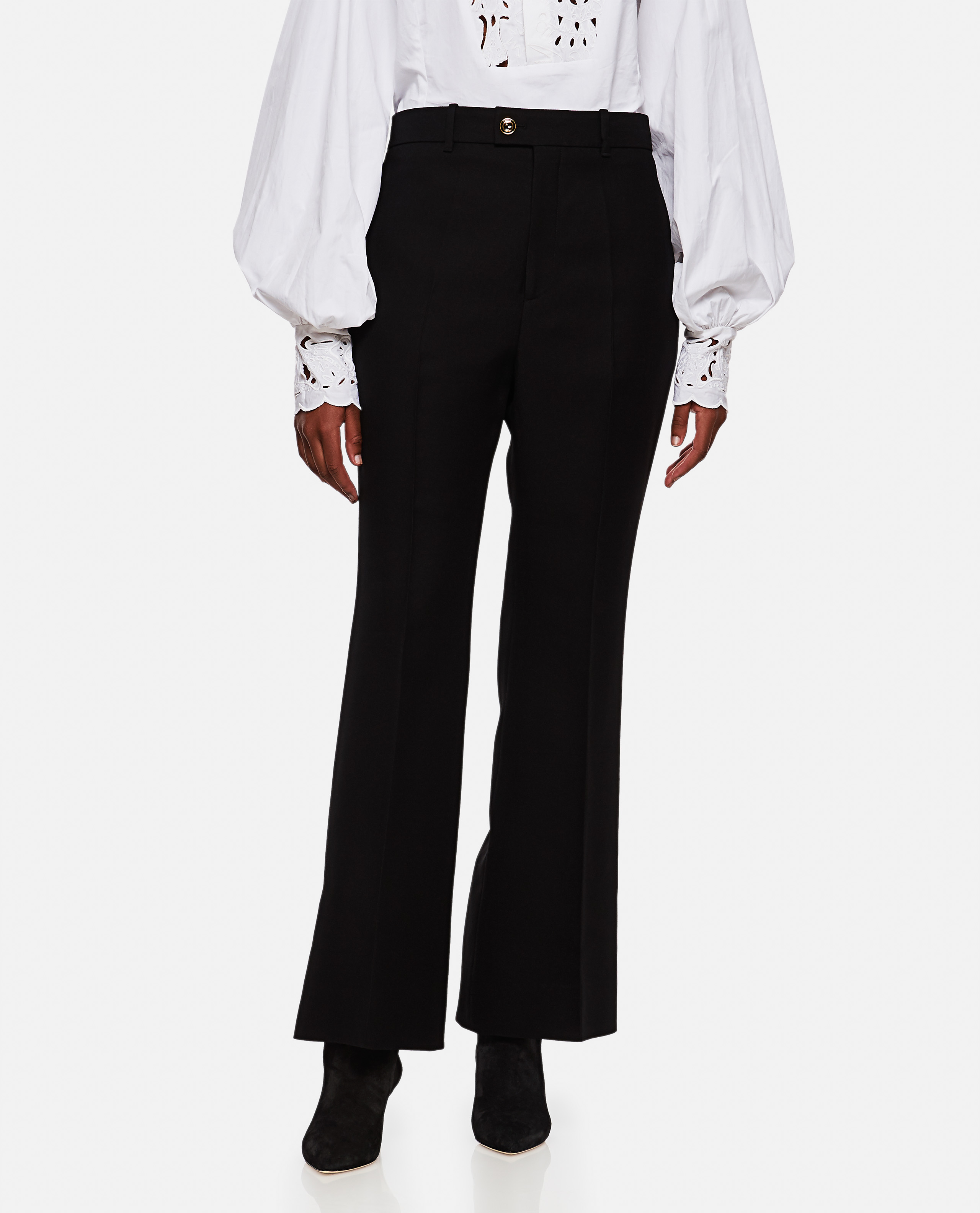 Short flare trousers in wool and silk