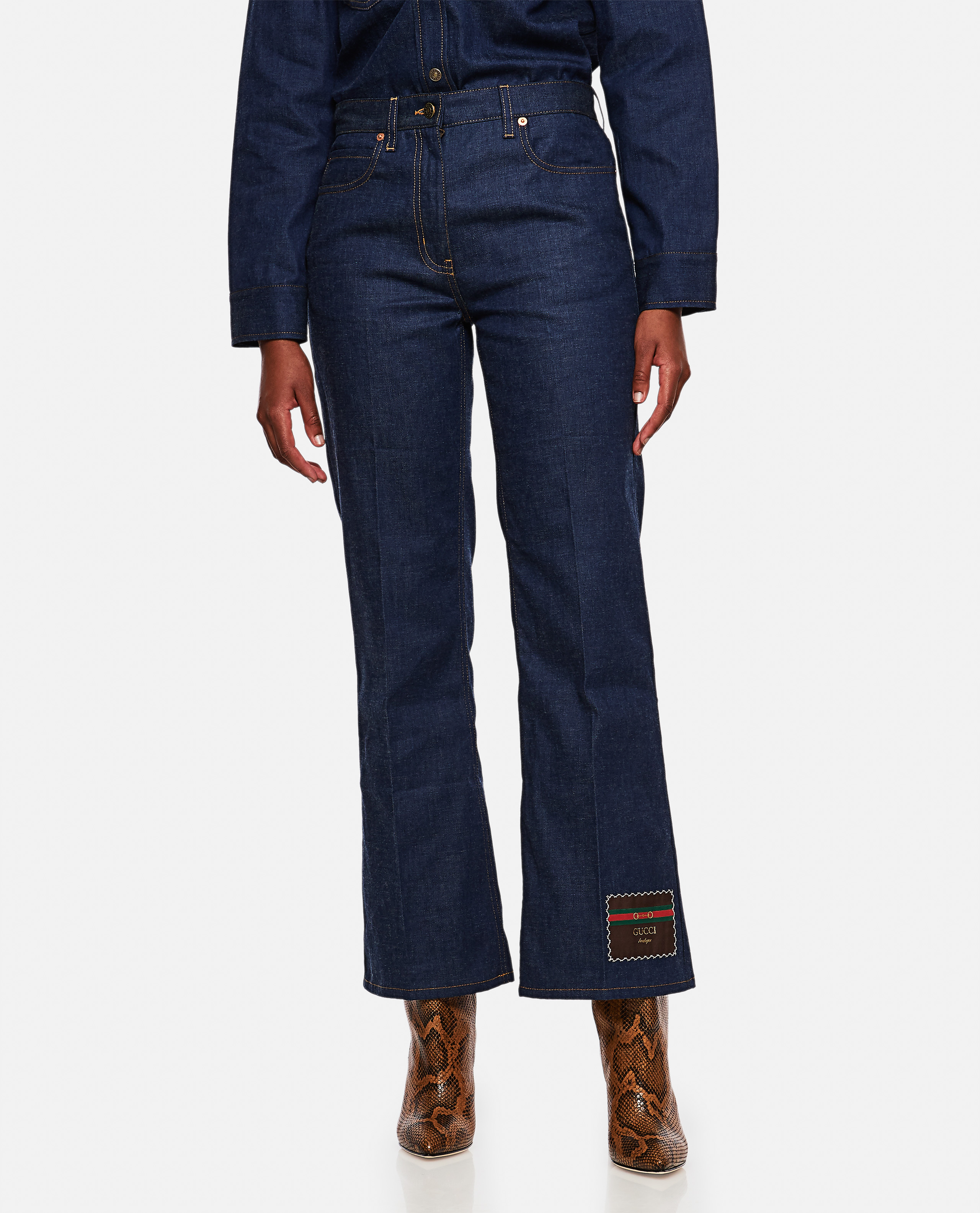 Denim trousers with Gucci Boutique patch