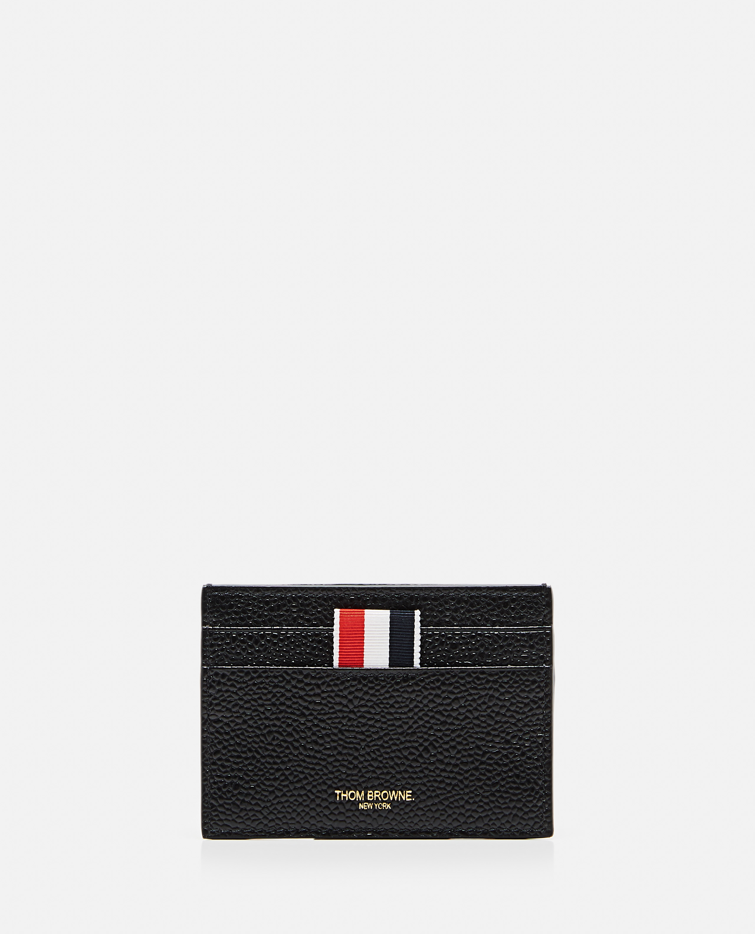 THOM BROWNE THOM BROWNE PEBBLE GRAIN LEATHER DOUBLE SIDED CARD HOLDER