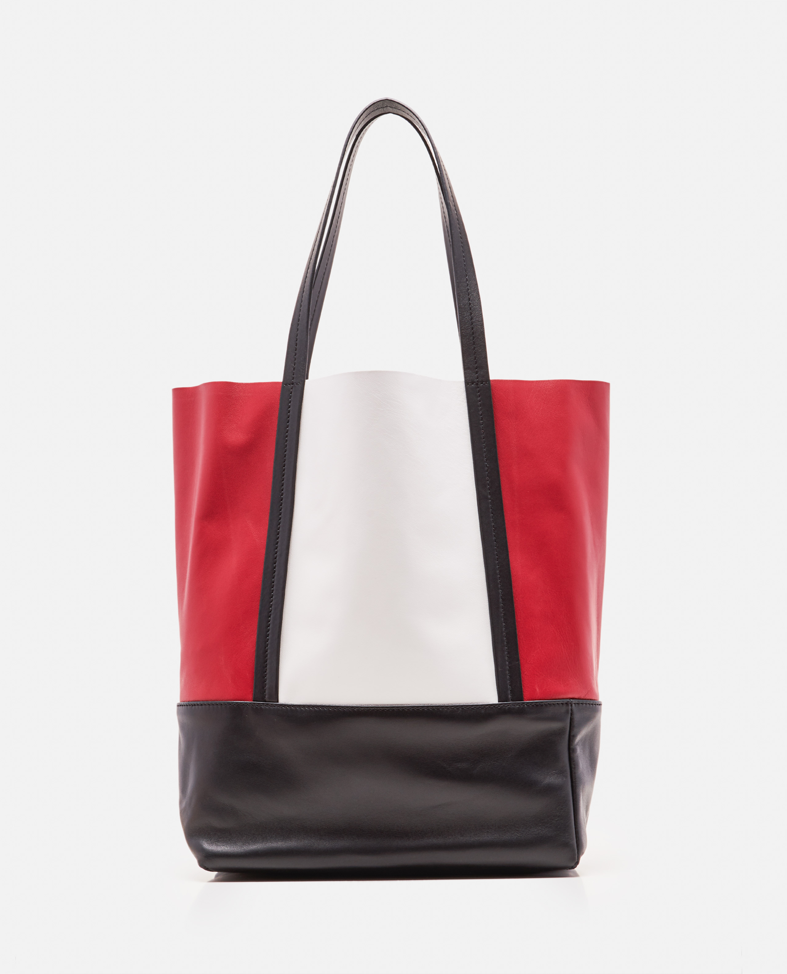 Two-tone leather tote bag
