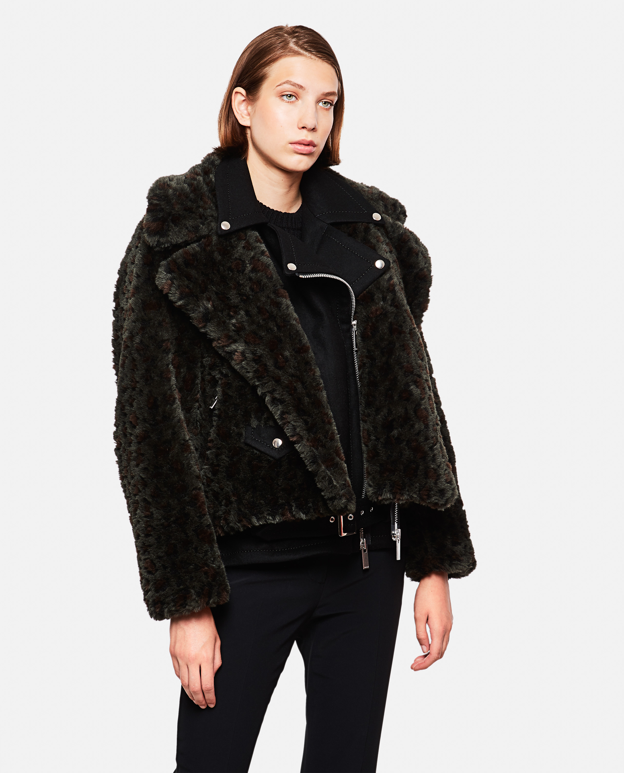 Sacai Jacket With Fur In Black