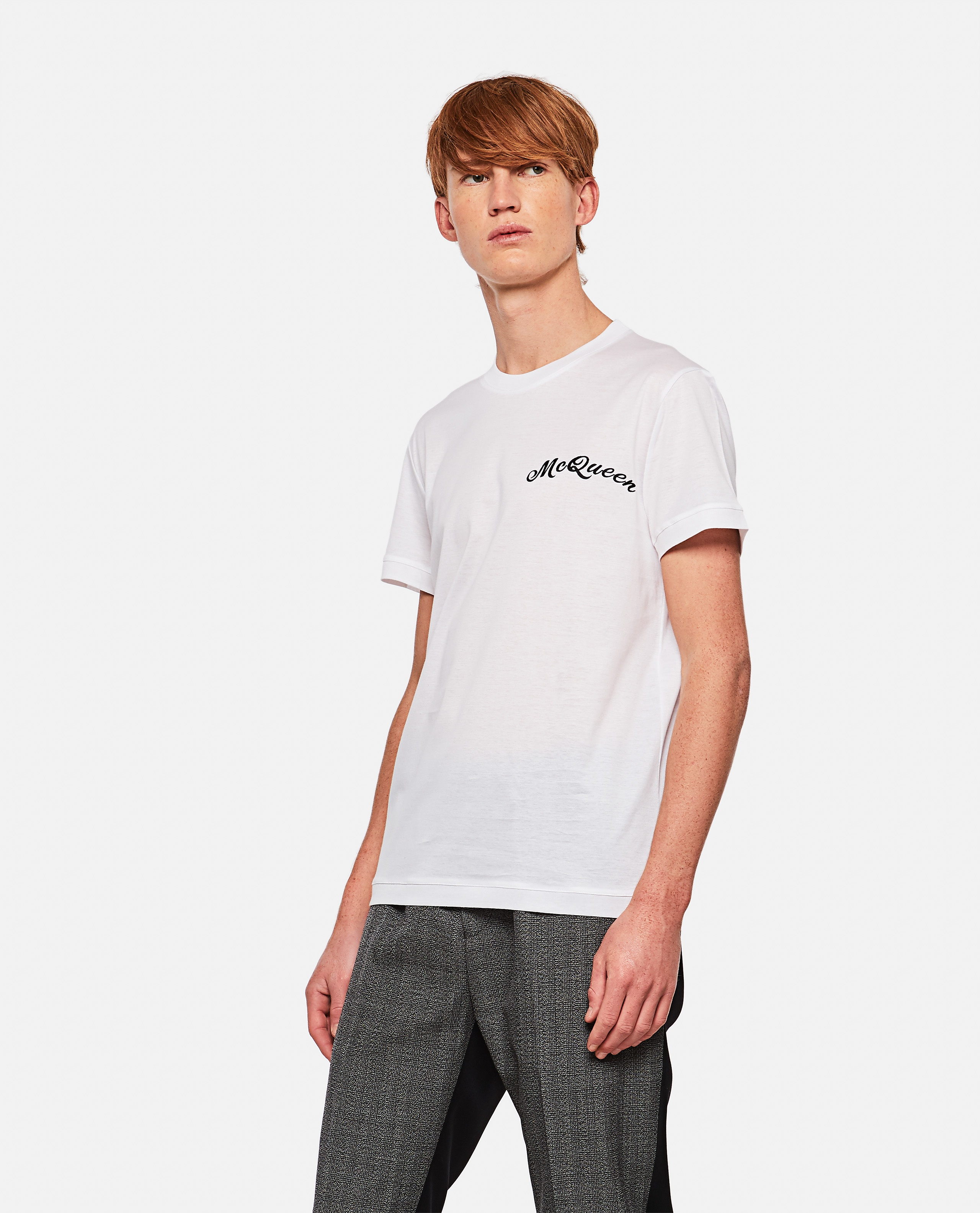 T-shirt with embroidered logo Men Alexander McQueen 000291060042851 1