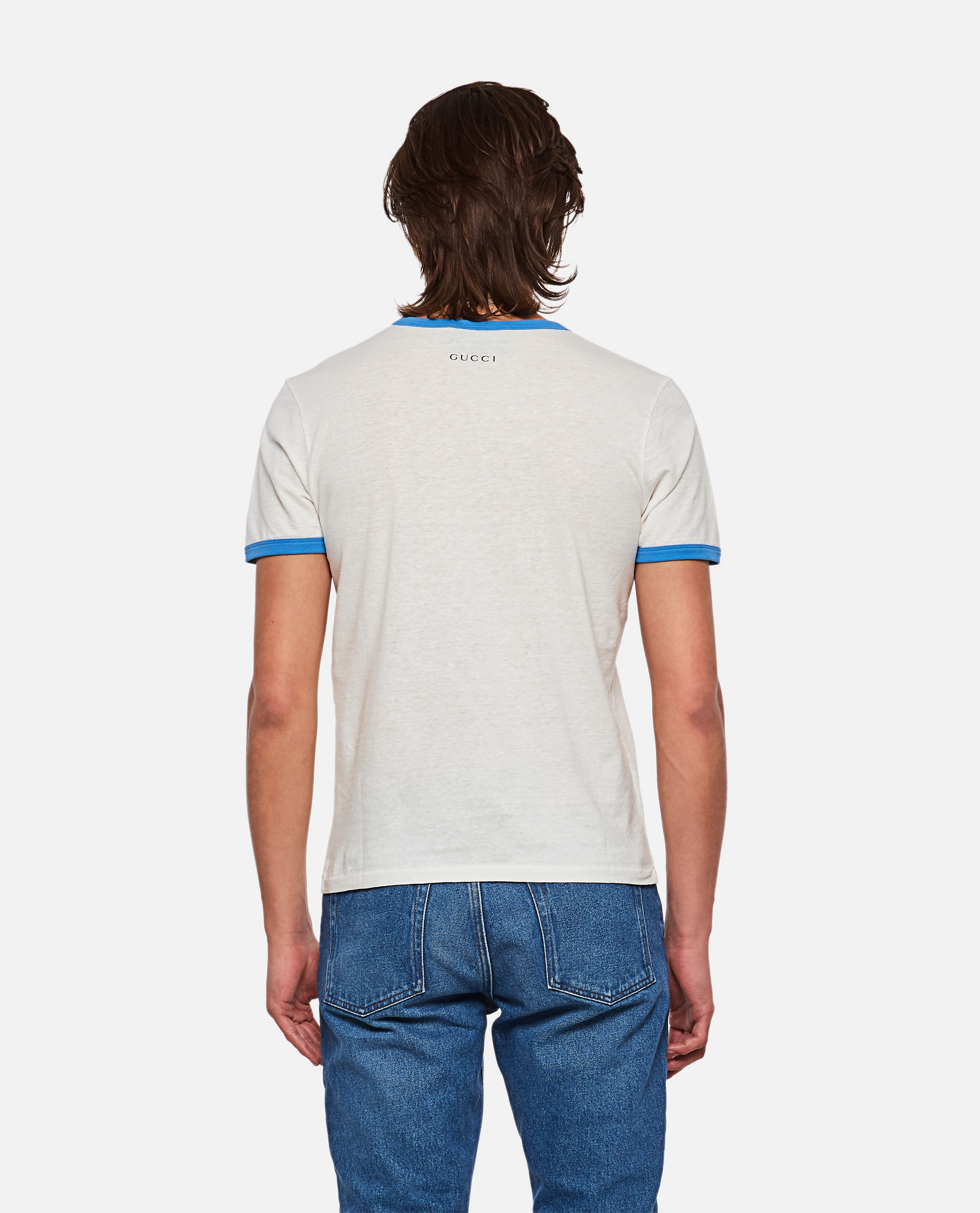 Cotton and linen T-shirt with Donald Duck print Men Gucci 000292980043154 3