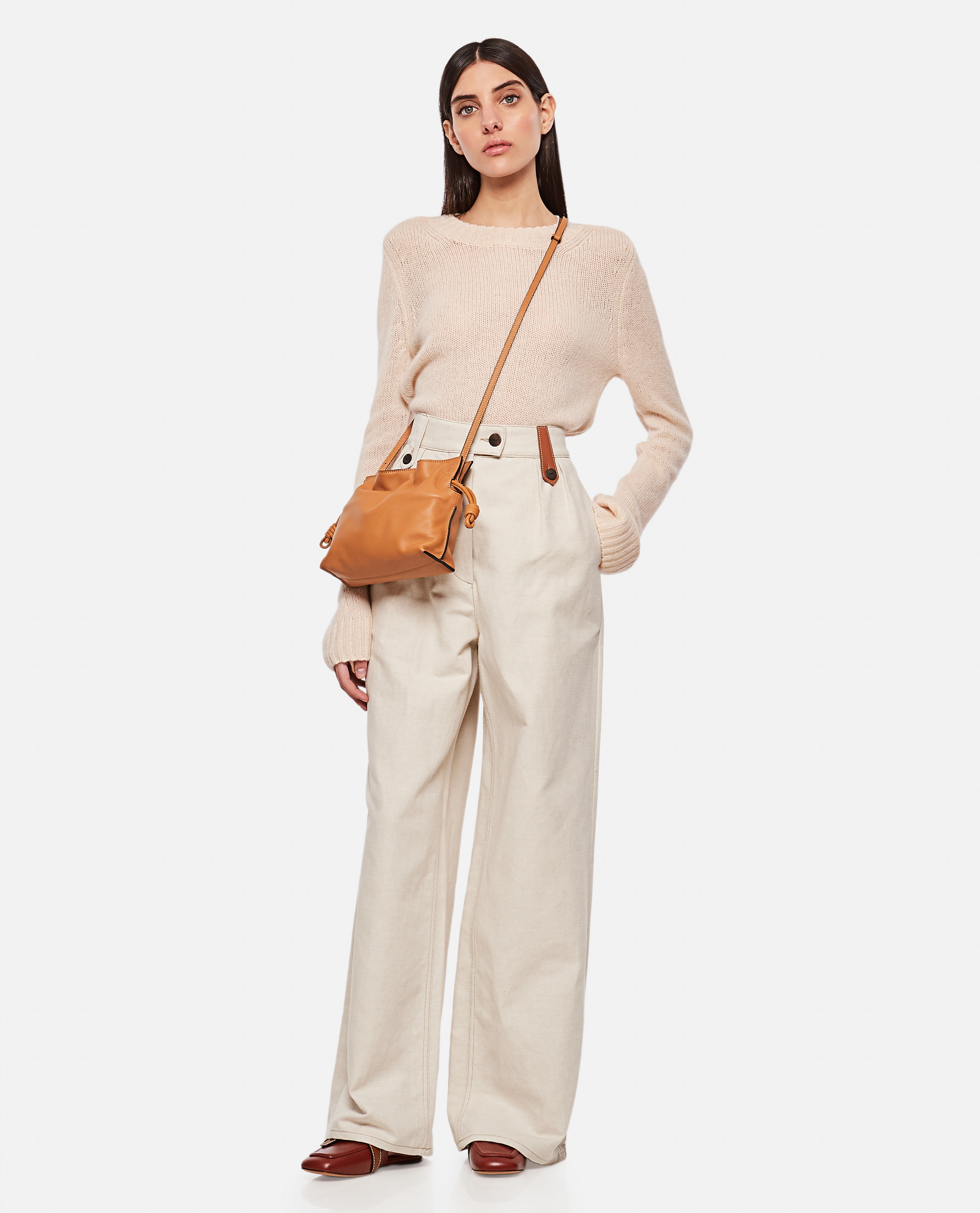 Flared trousers in cotton and linen Women Loewe 000320420046914 2