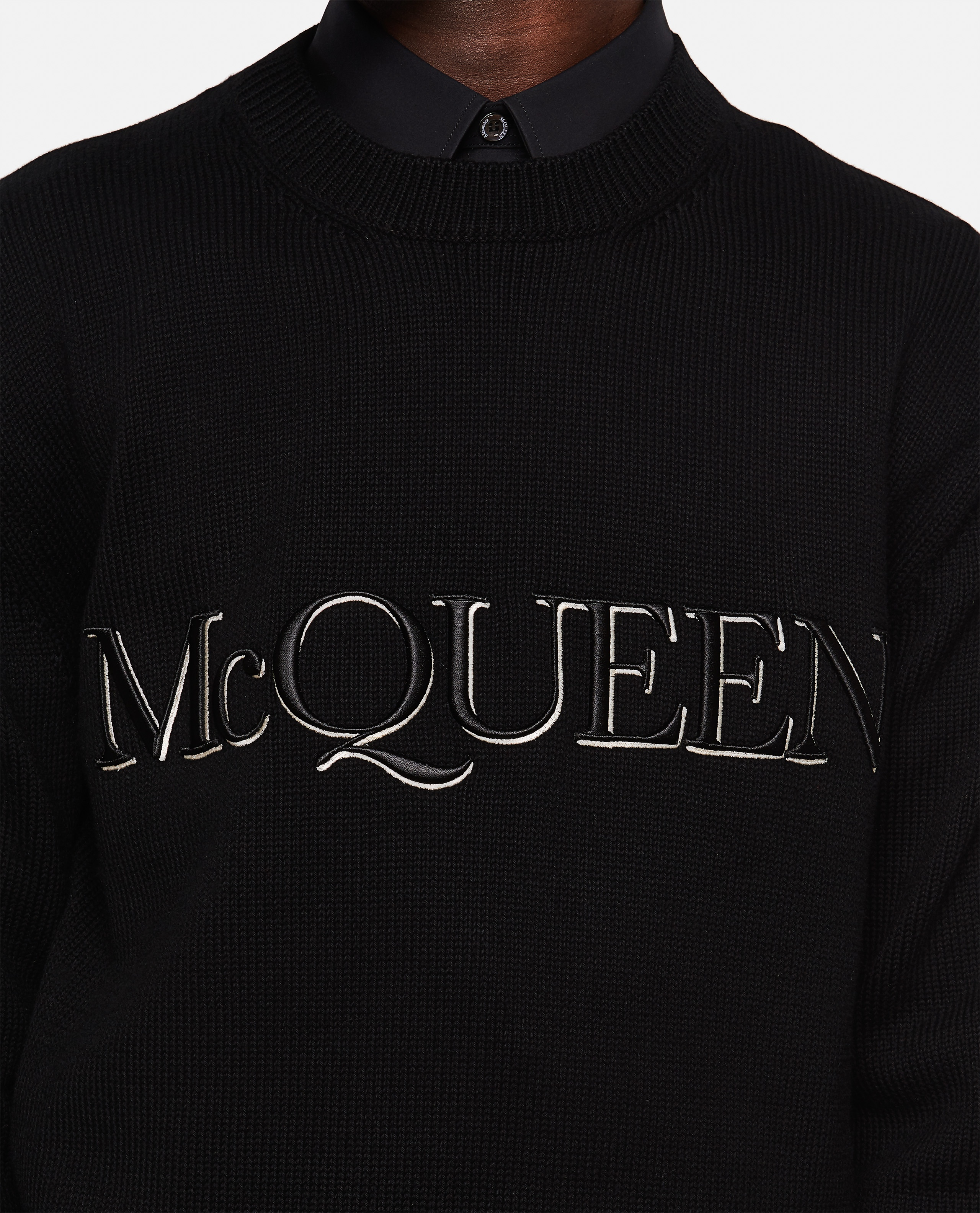 Embroidered crew neck sweater Men Alexander McQueen 000291100042857 4