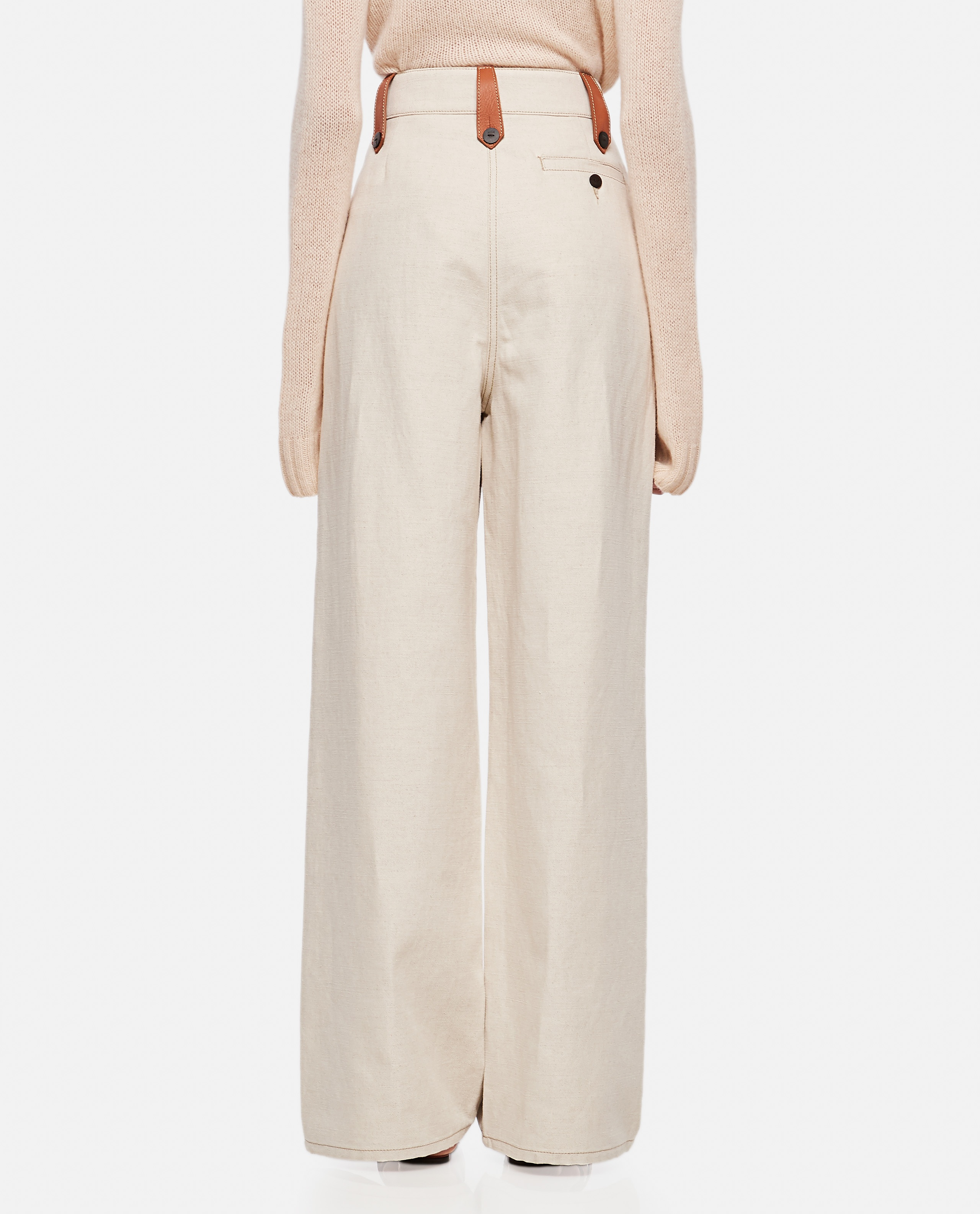 Flared trousers in cotton and linen Women Loewe 000320420046914 3