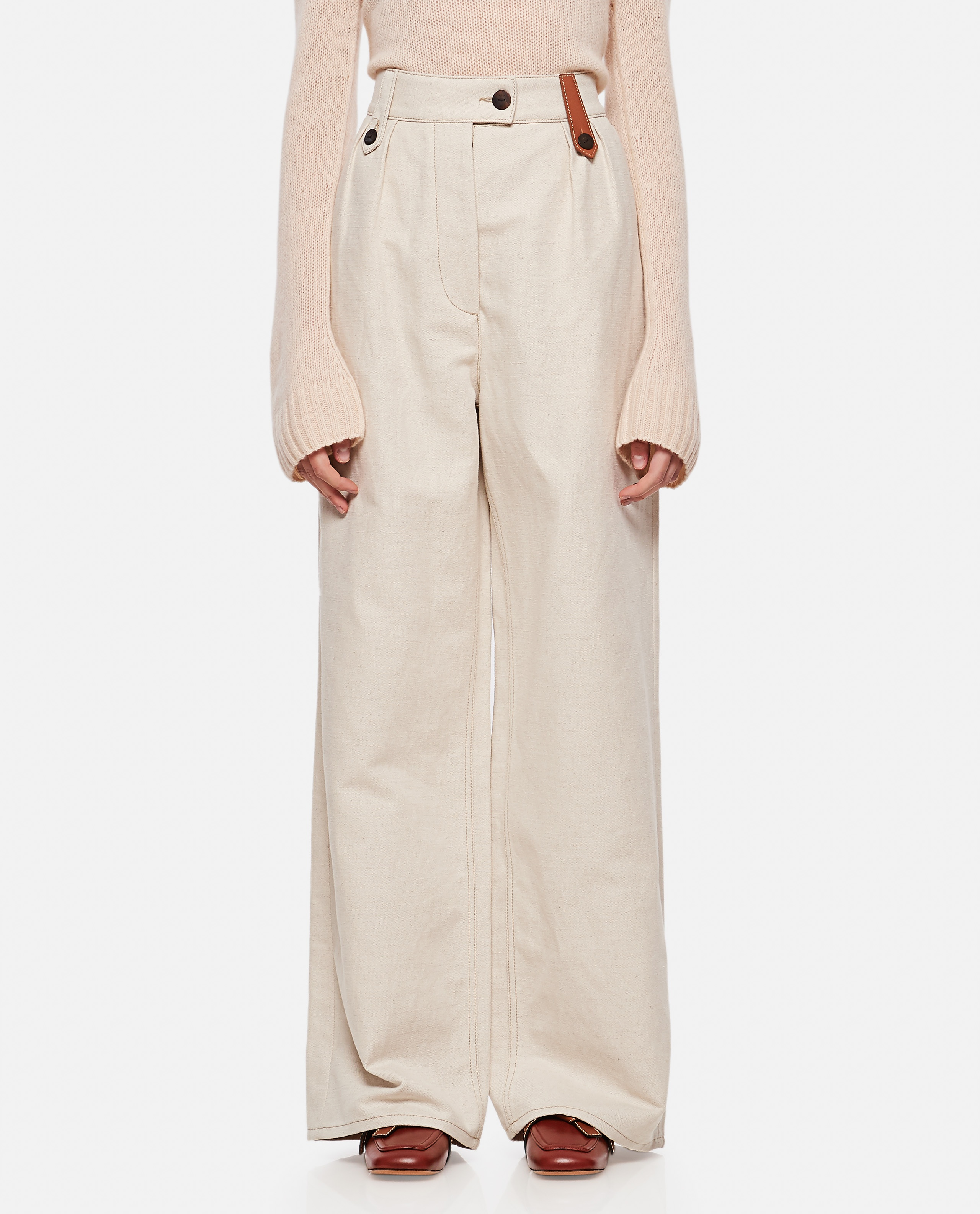 Flared trousers in cotton and linen Women Loewe 000320420046914 1