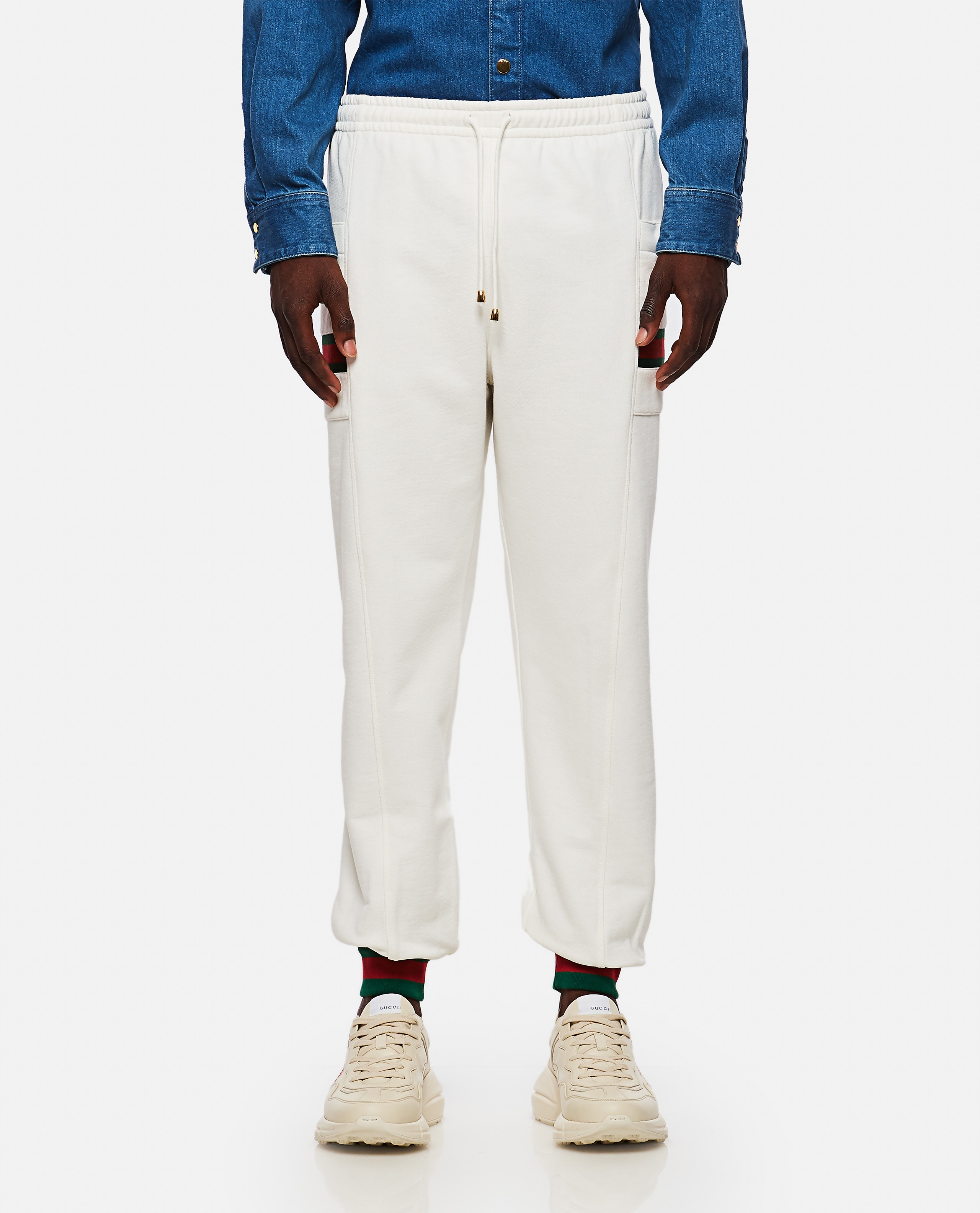 Jersey jogging trousers with Web ribbon Men Gucci 000267660039487 1