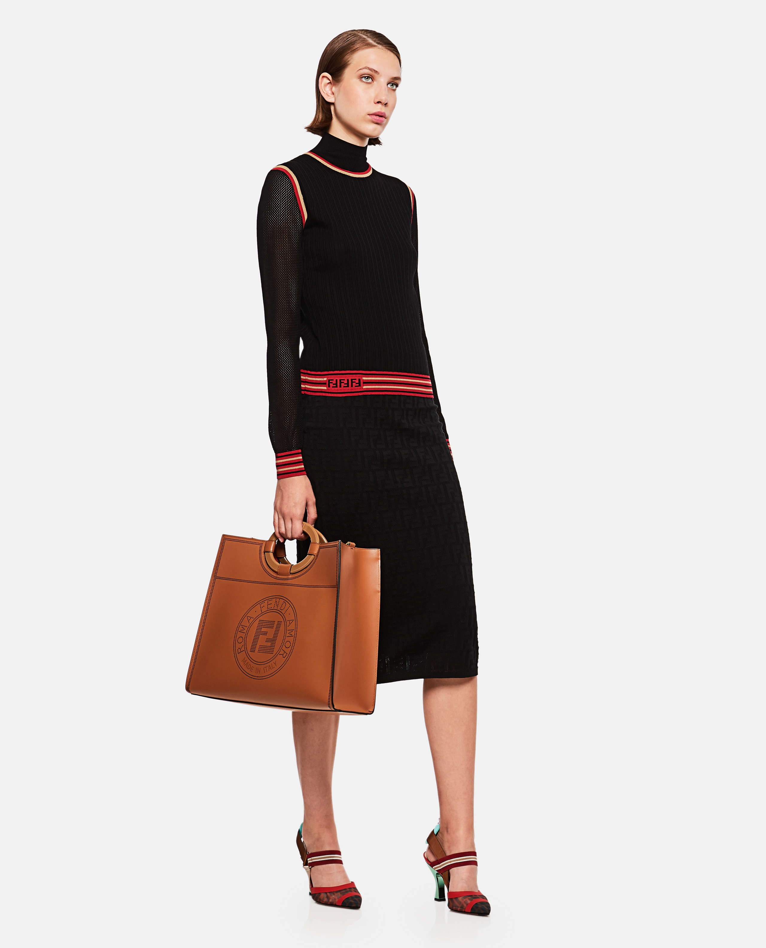 Knitted Skirt With Ff Motif Women Fendi 000190250028262 4