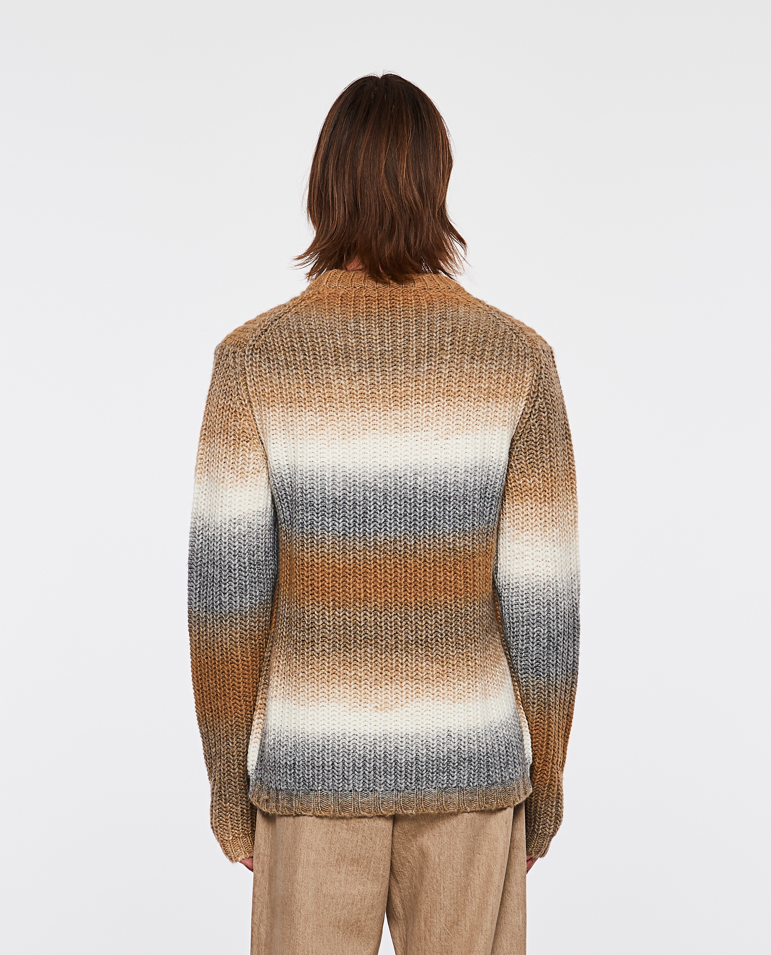 Wool and Alpaca blend pullover with degradé bands Men Golden Goose 000269570039723 3