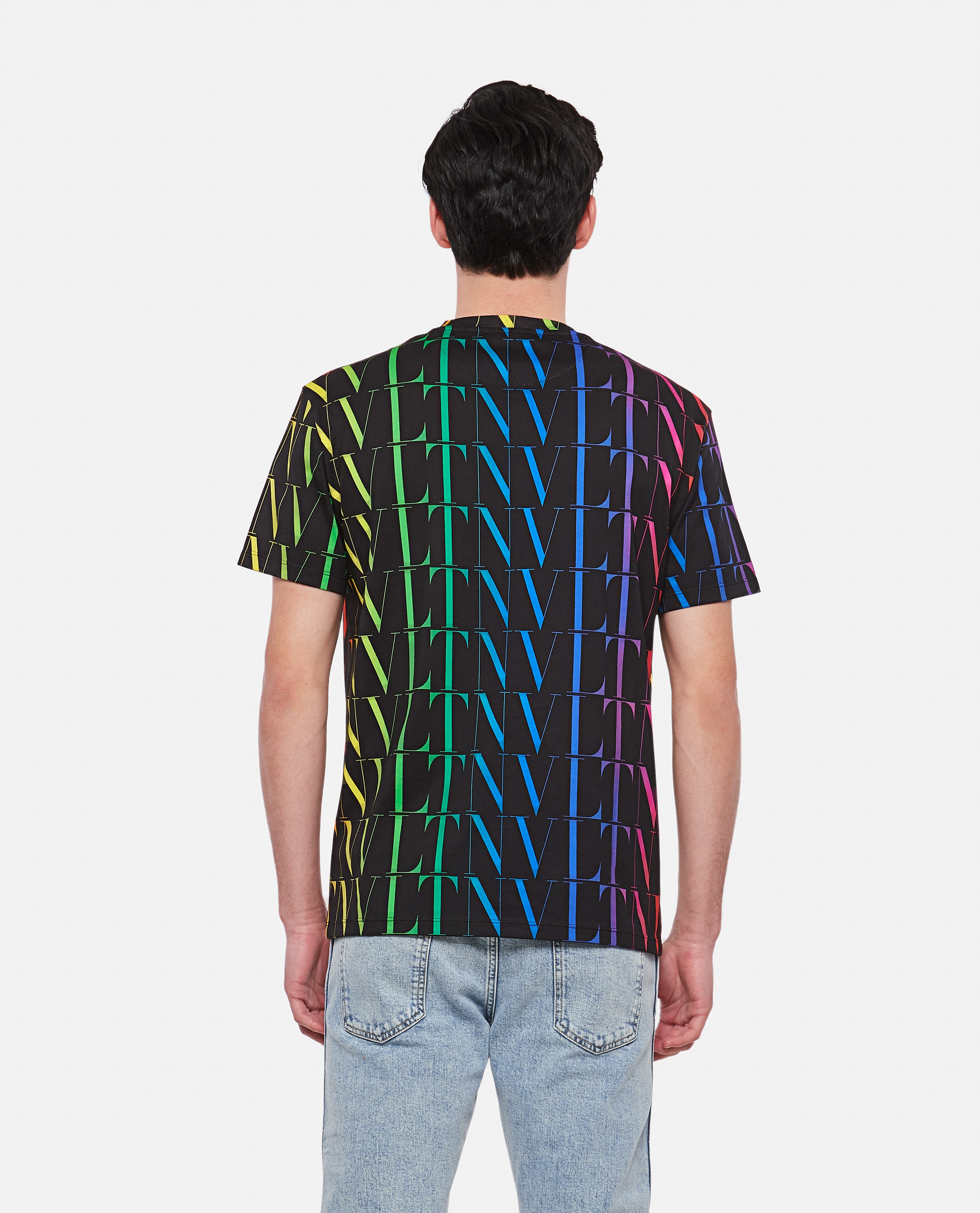 Black t-shirt with multicolored VLTN motif Men Valentino 000294670043345 3