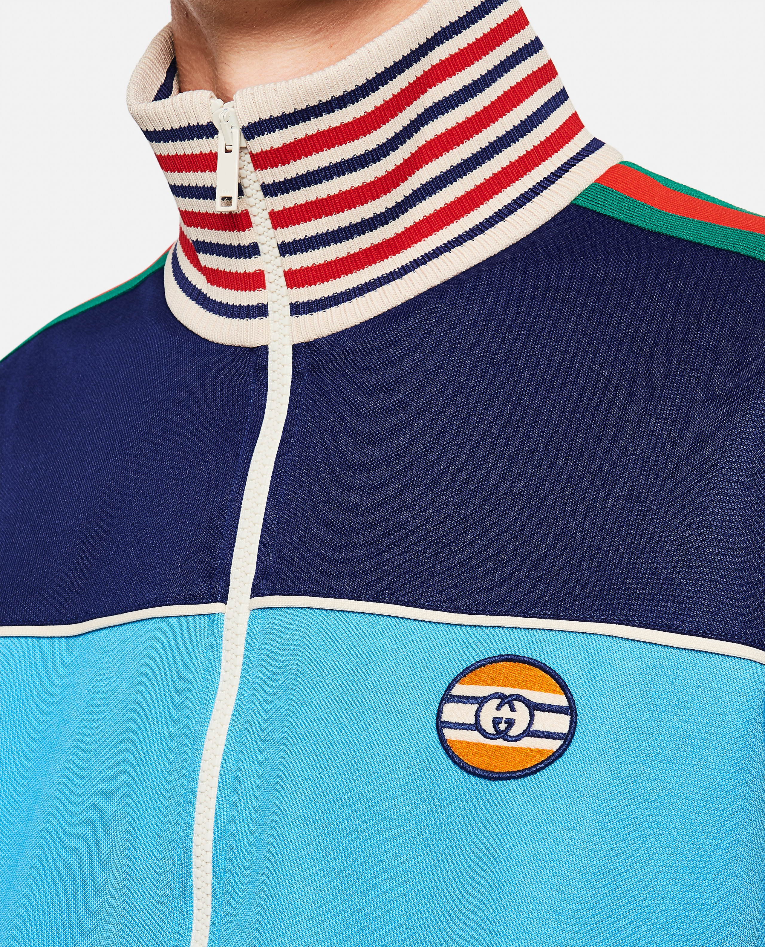 Technical jersey jacket with zip and Web tape Men Gucci 000293320043197 4