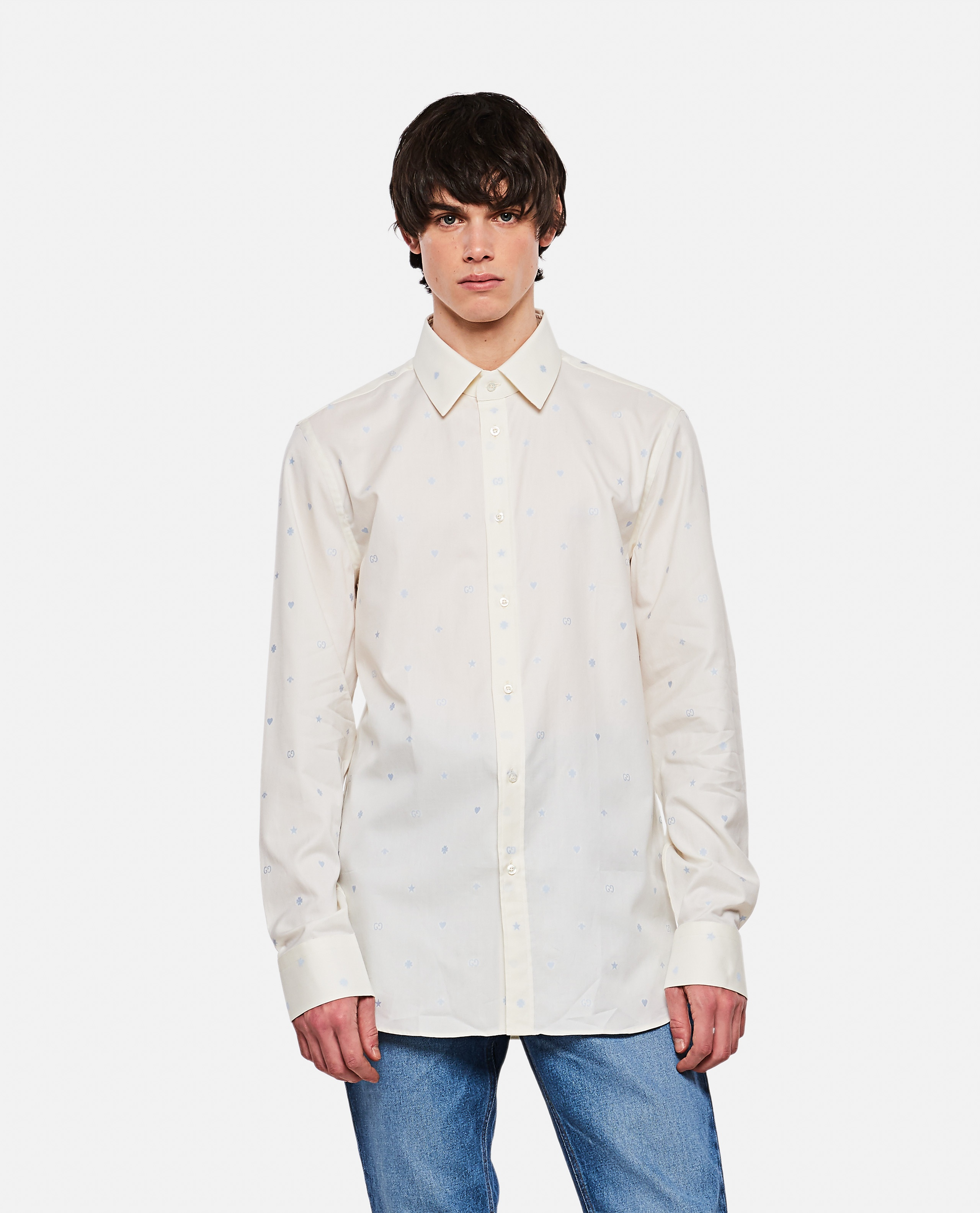 Fil coupé Oxford shirt with a mix of symbols motif  Men Gucci 000292860043142 1