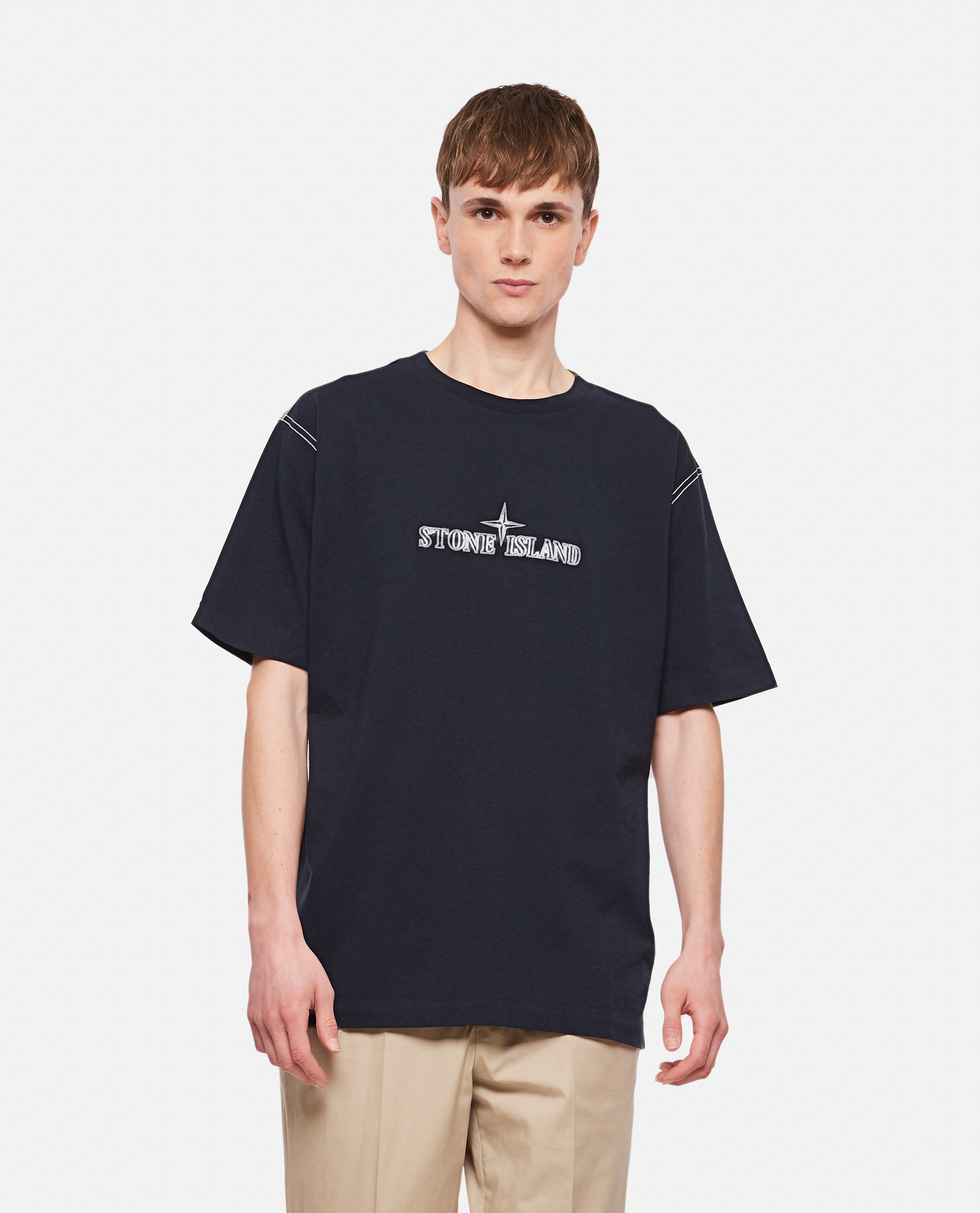 Cotton T-Shirt with embroidery Men Stone Island 000292710043107 1