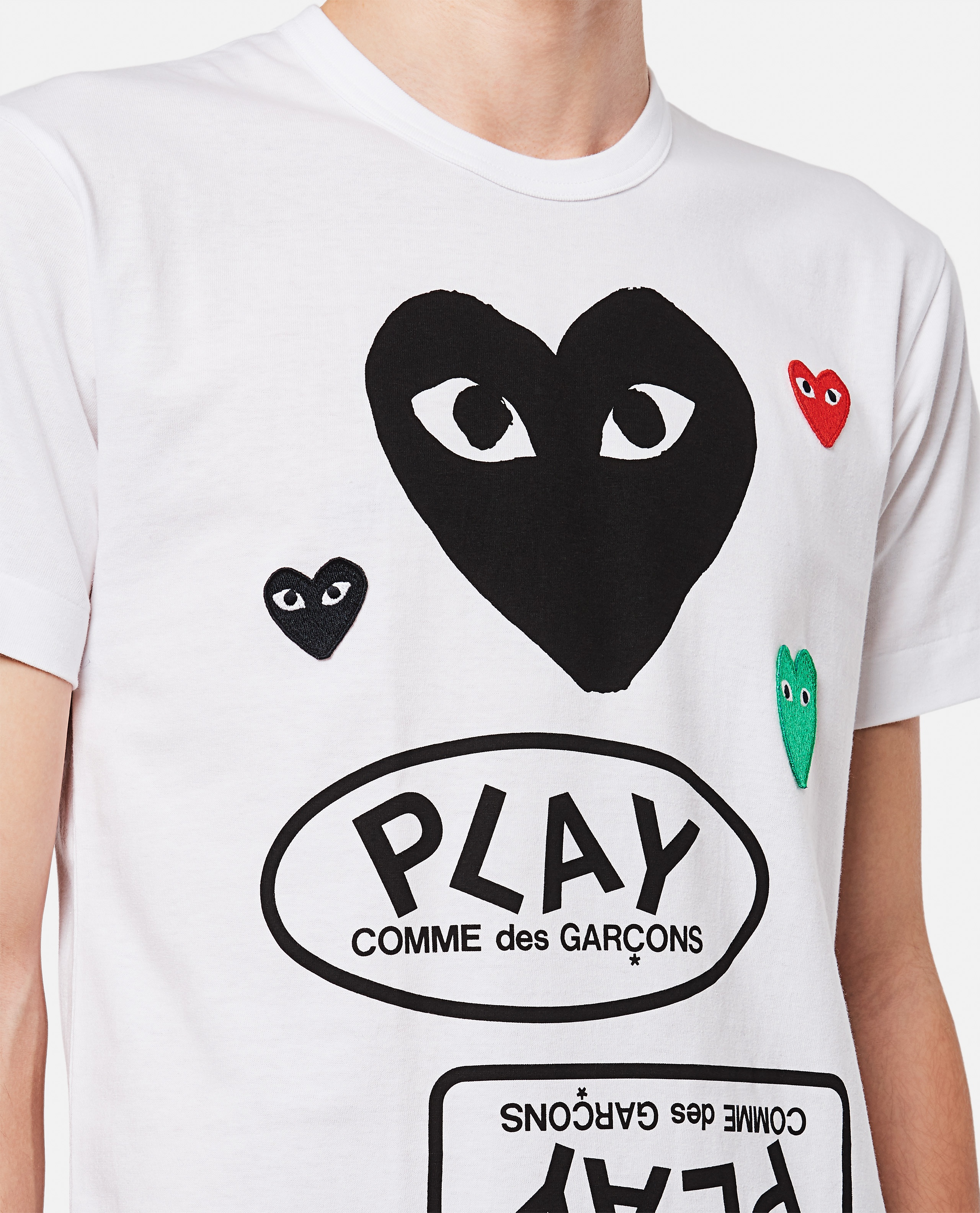 T-shirt with logo and hearts print Men Comme des Garcons Play 000267370039452 4