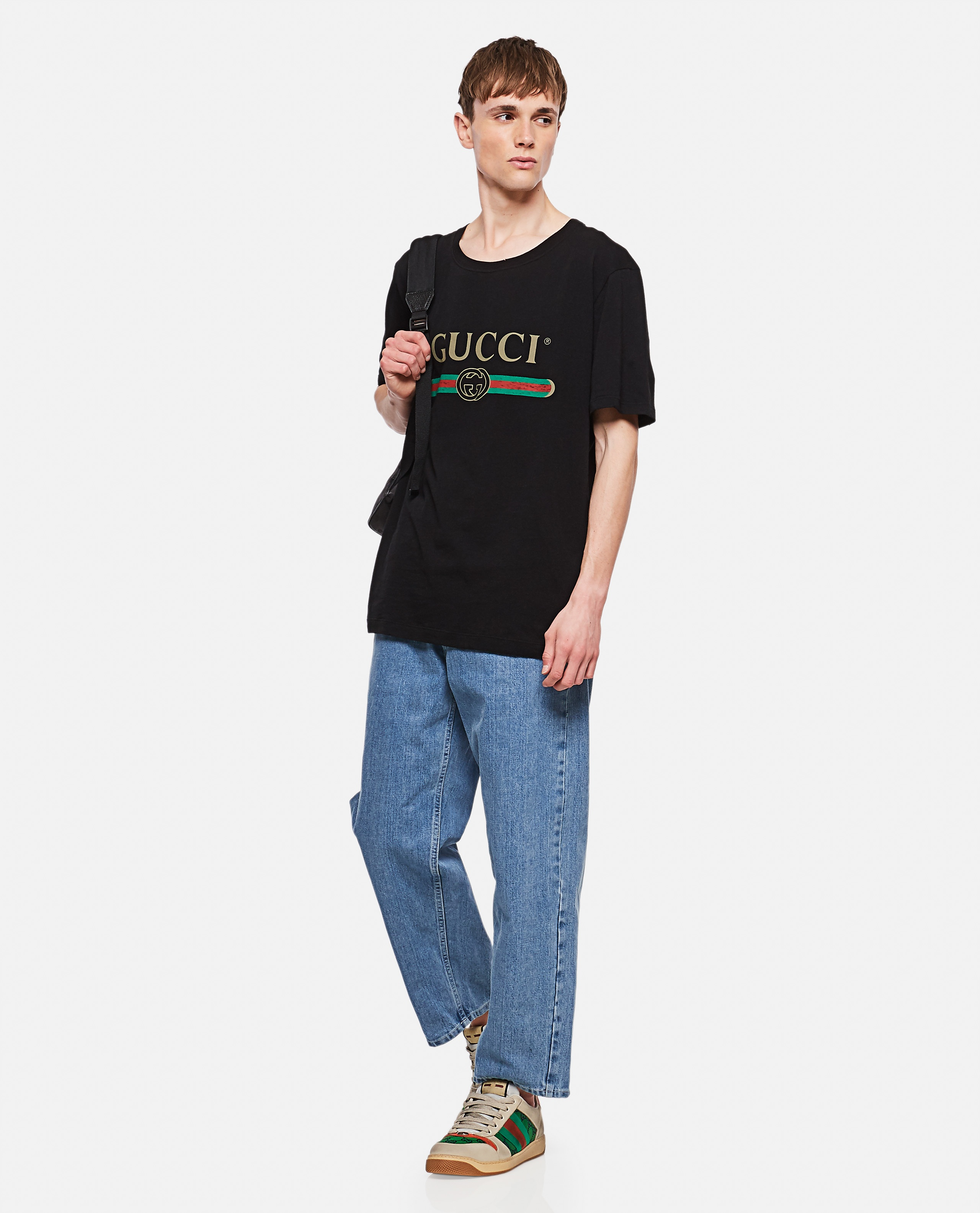 Oversized washed T-shirt with Gucci logo Men Gucci 000136150020663 2