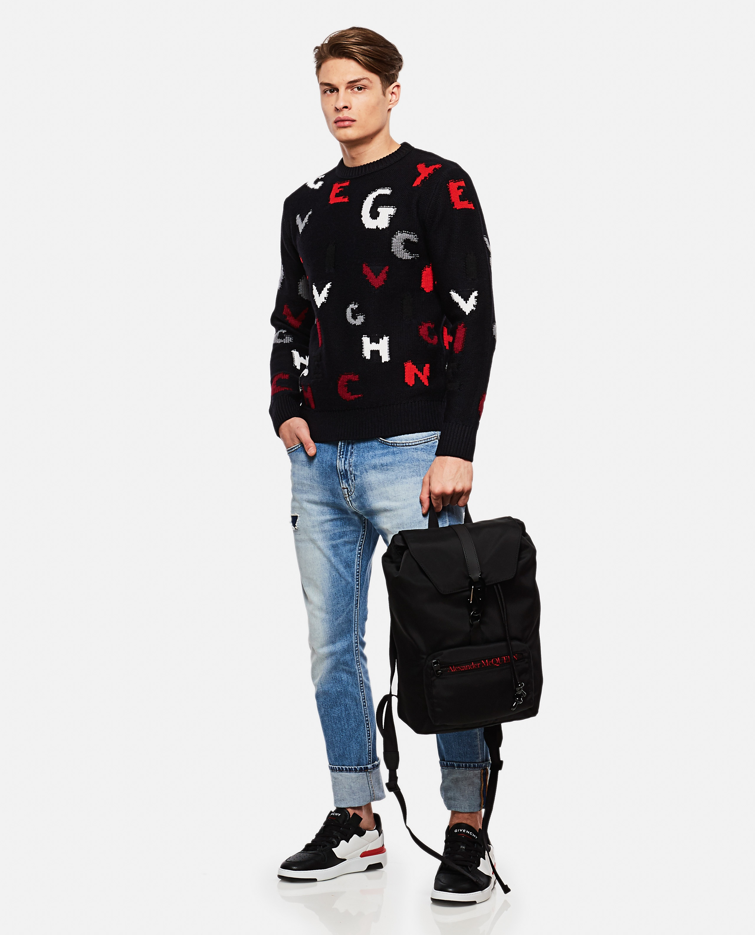 Crew-neck pullover with GIVENCHY letters Men Givenchy 000135780033491 2