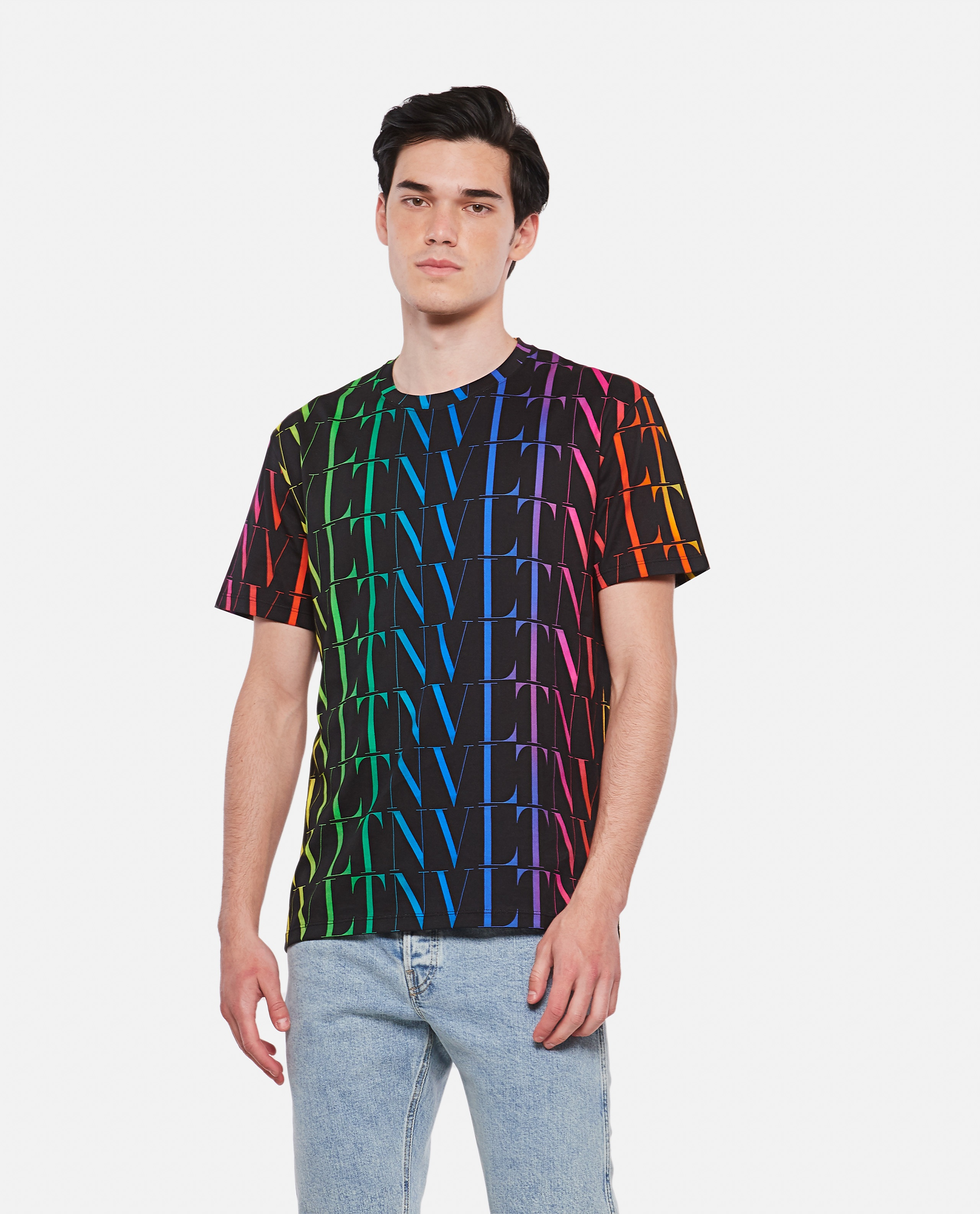 Black t-shirt with multicolored VLTN motif Men Valentino 000294670043345 1