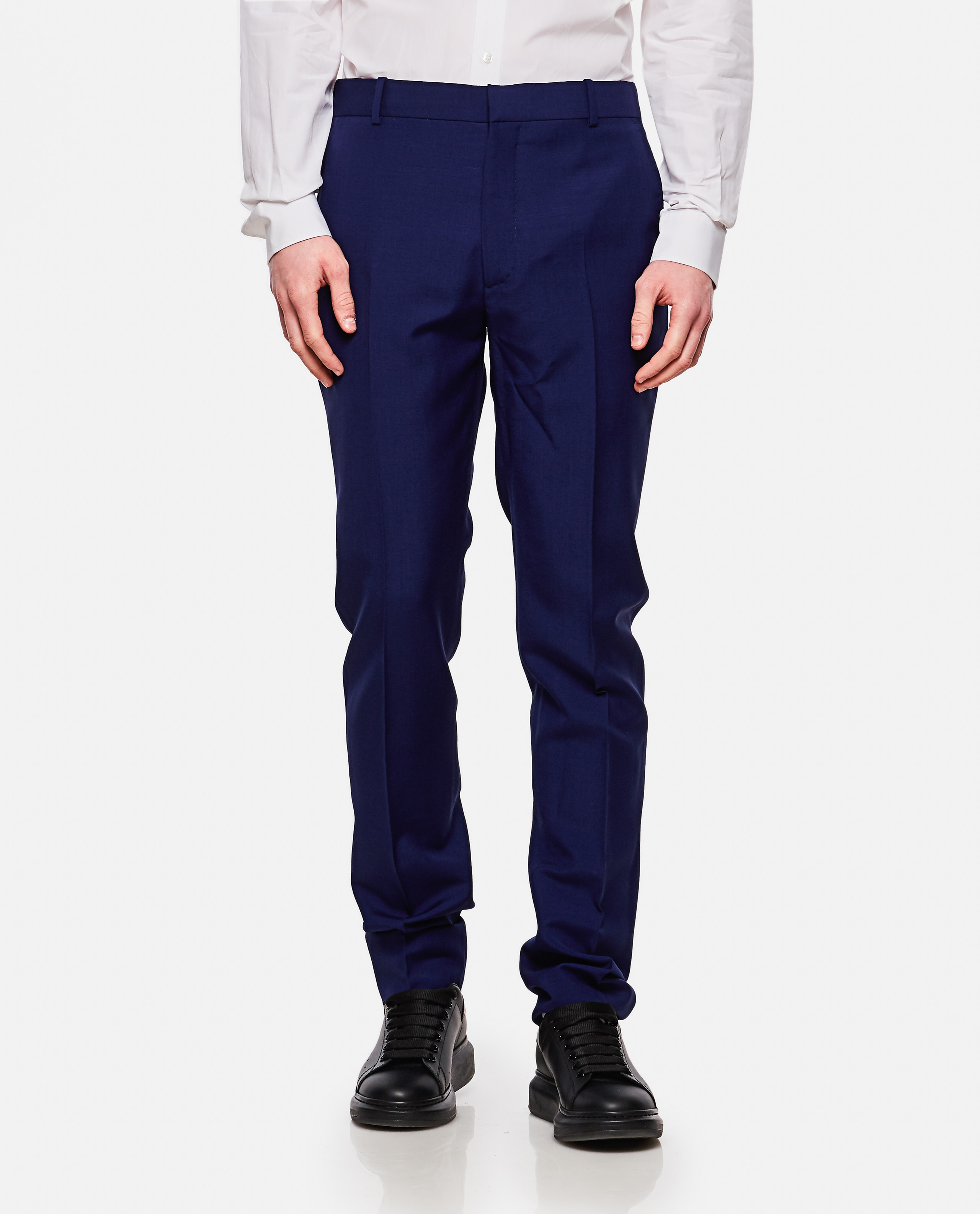 Tailored wool and mohair trousers Men Alexander McQueen 000214990031913 1