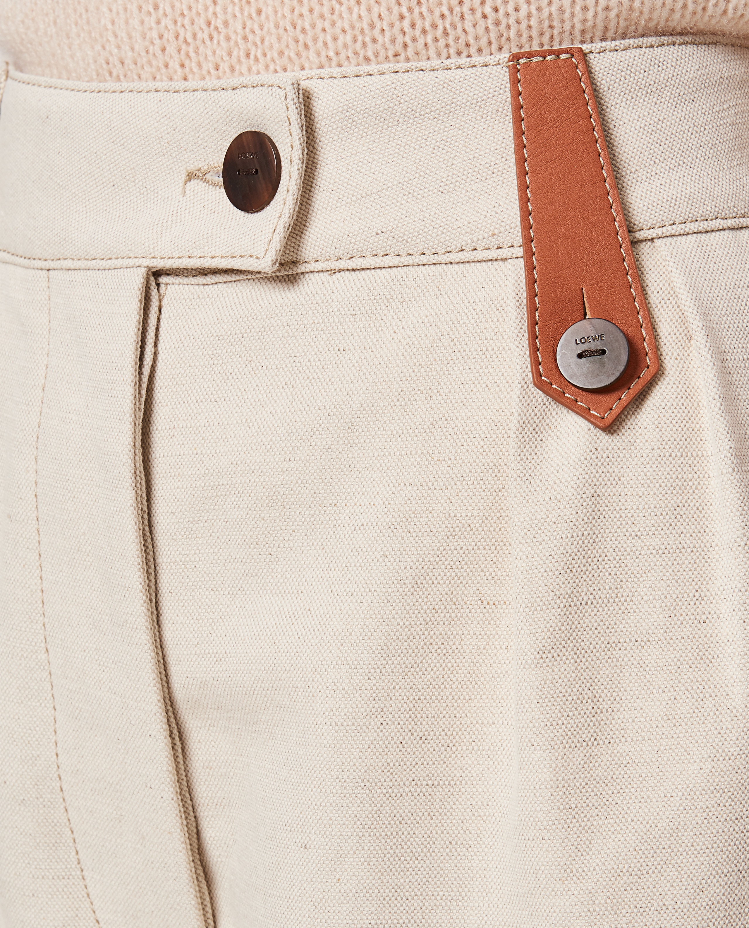 Flared trousers in cotton and linen Women Loewe 000320420046914 4