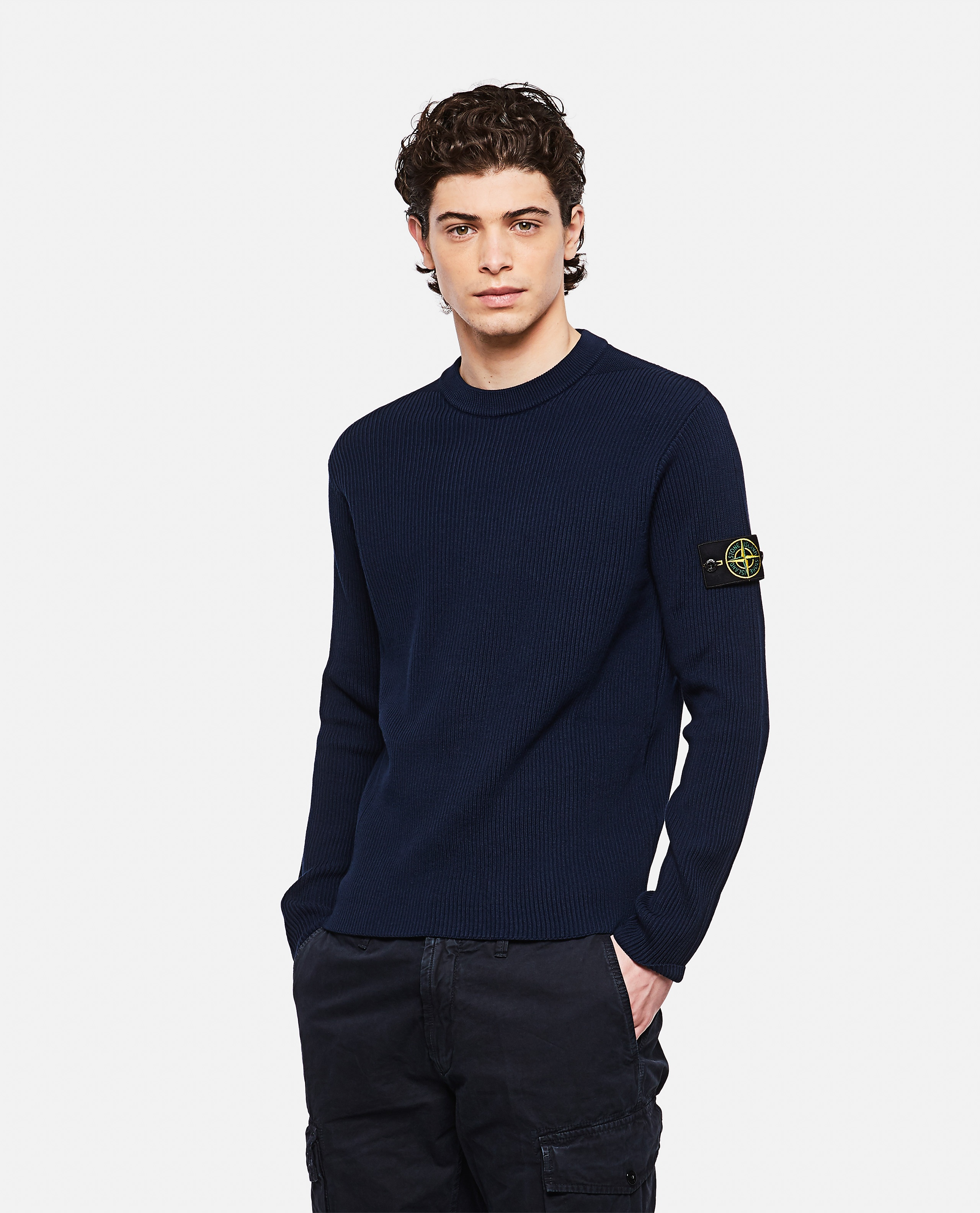 Sweater with logo patch Men Stone Island 000292760043118 1