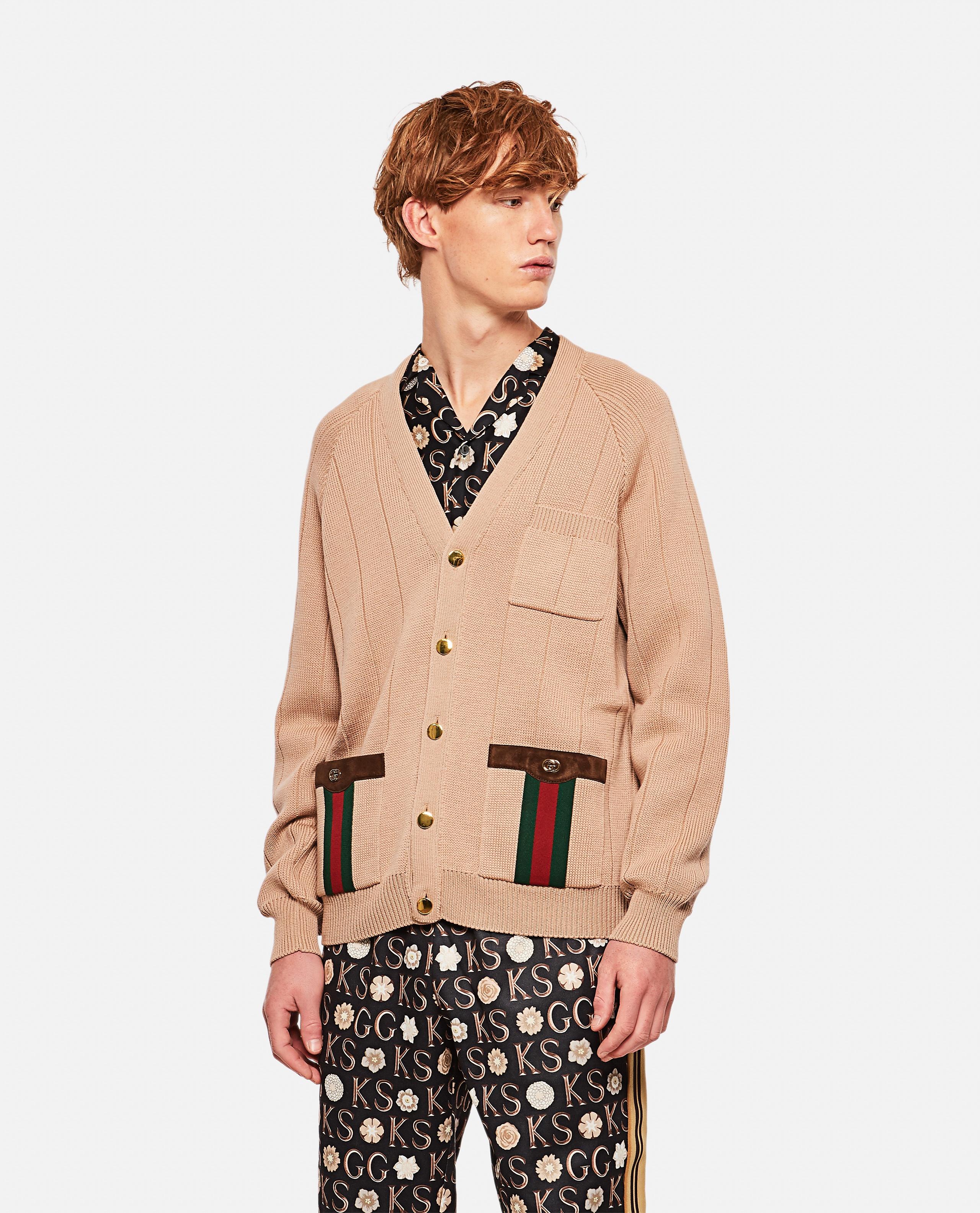 Knitted wool blend cardigan with Web ribbon Men Gucci 000267800043136 1