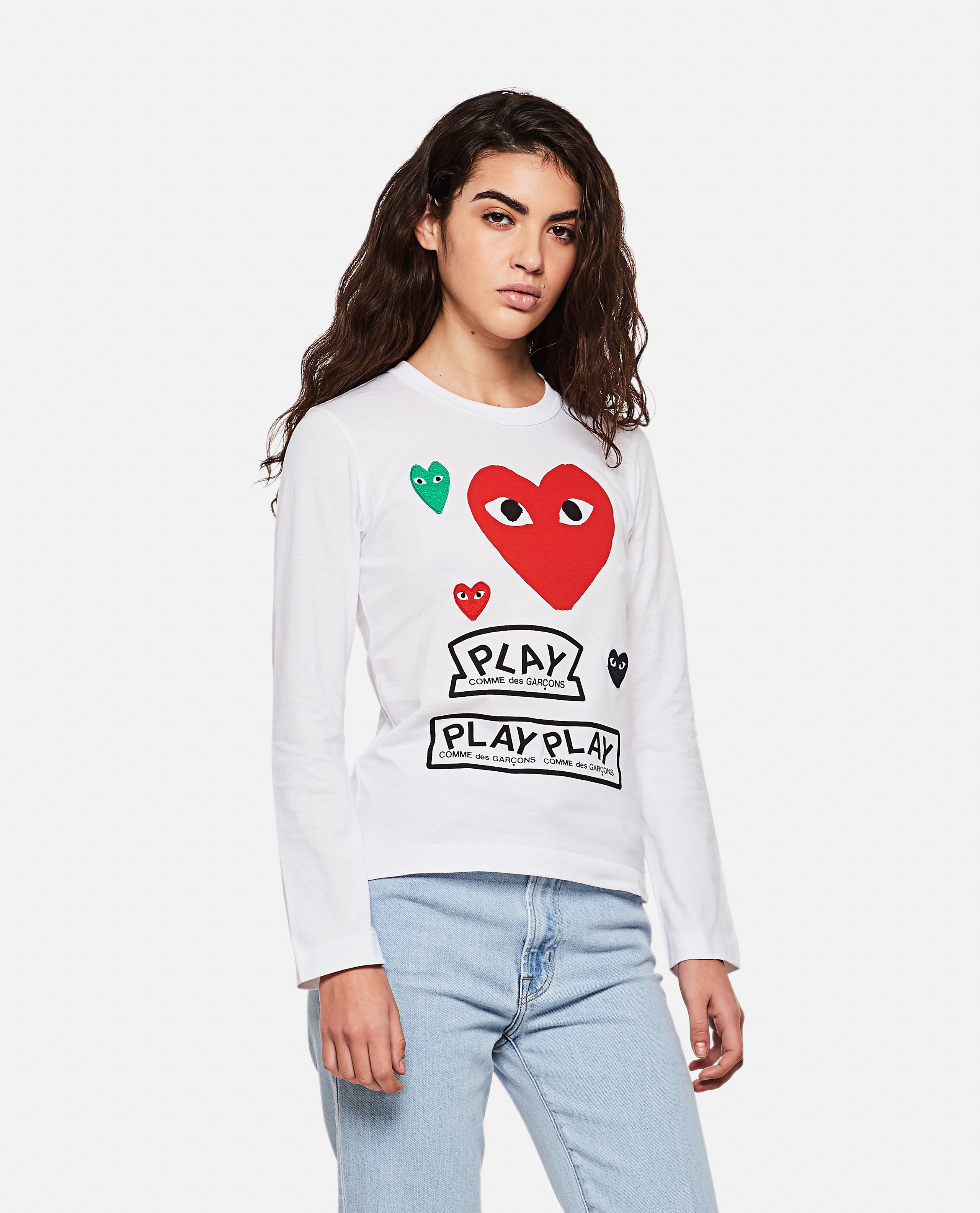 T-shirt with logo and hearts print Women Comme des Garcons Play 000267270039437 1