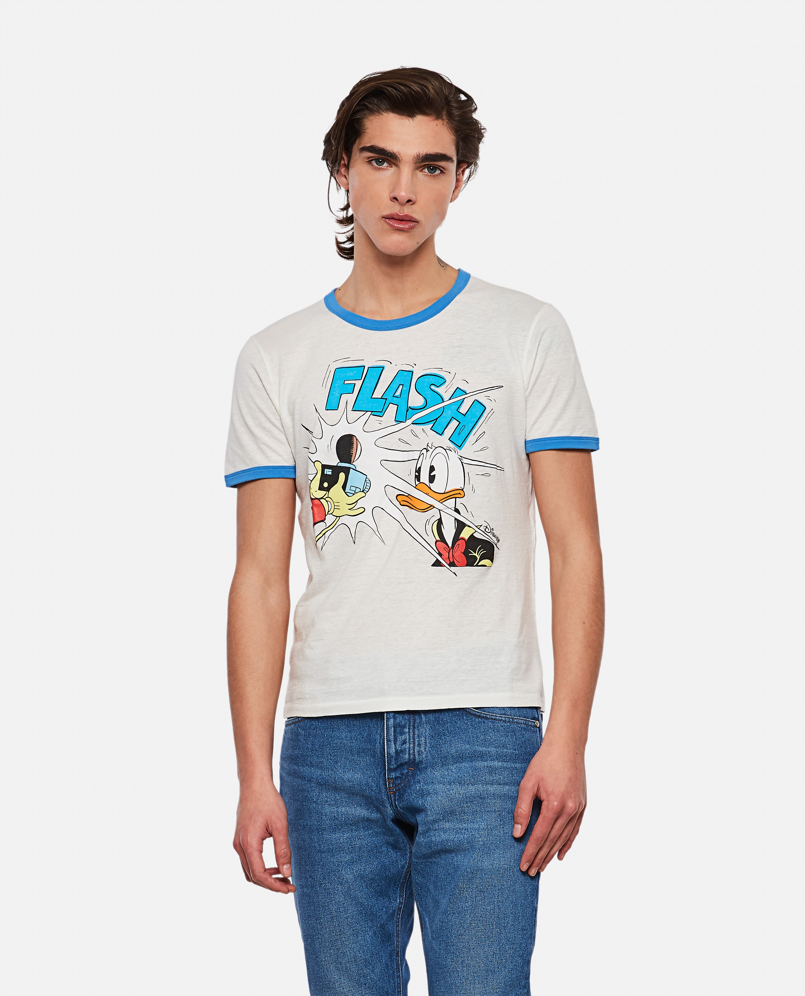 Cotton and linen T-shirt with Donald Duck print Men Gucci 000292980043154 1