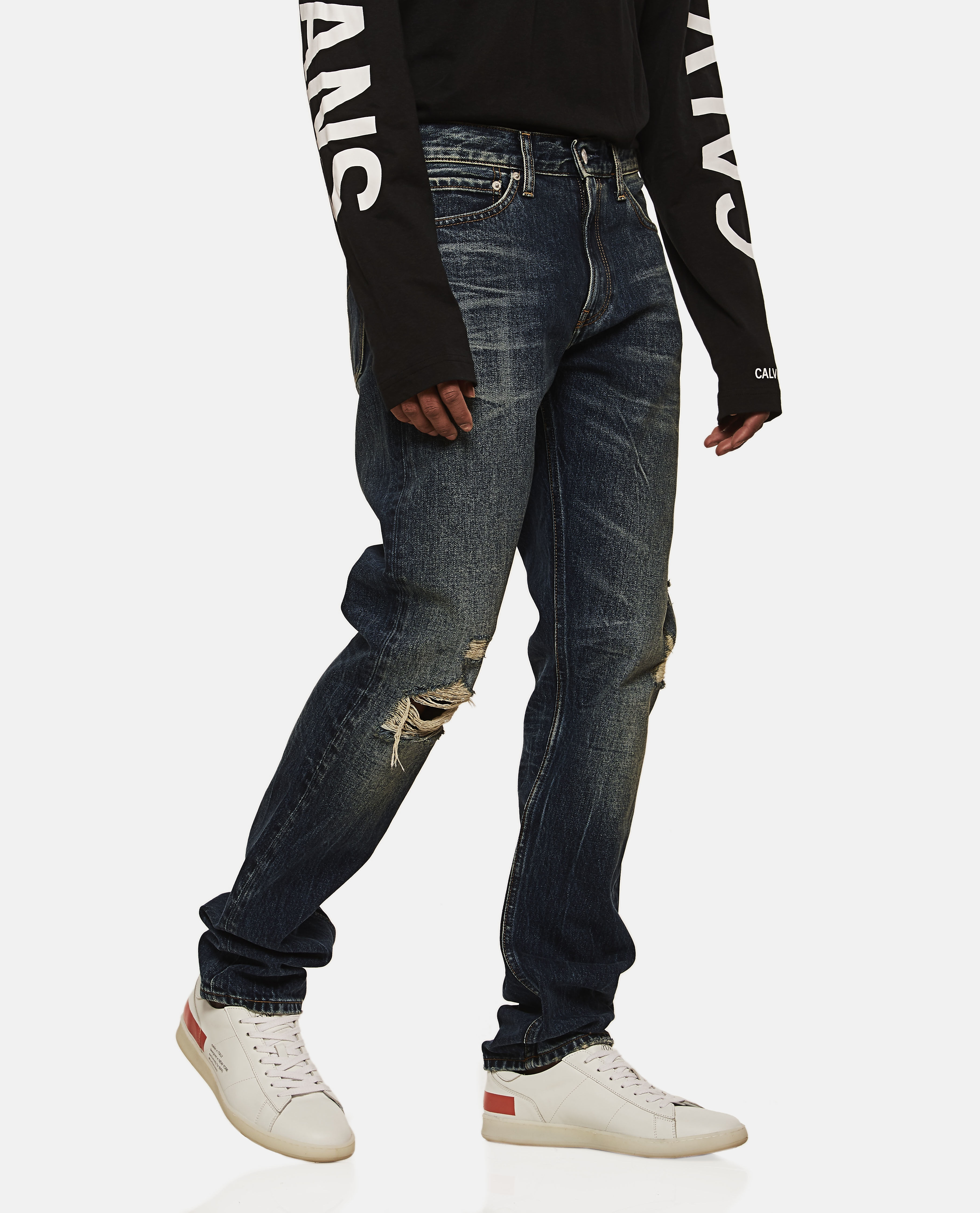 Straight Leg Ripped Knee Jeans  Men Calvin Klein Jeans 000145890021891 1