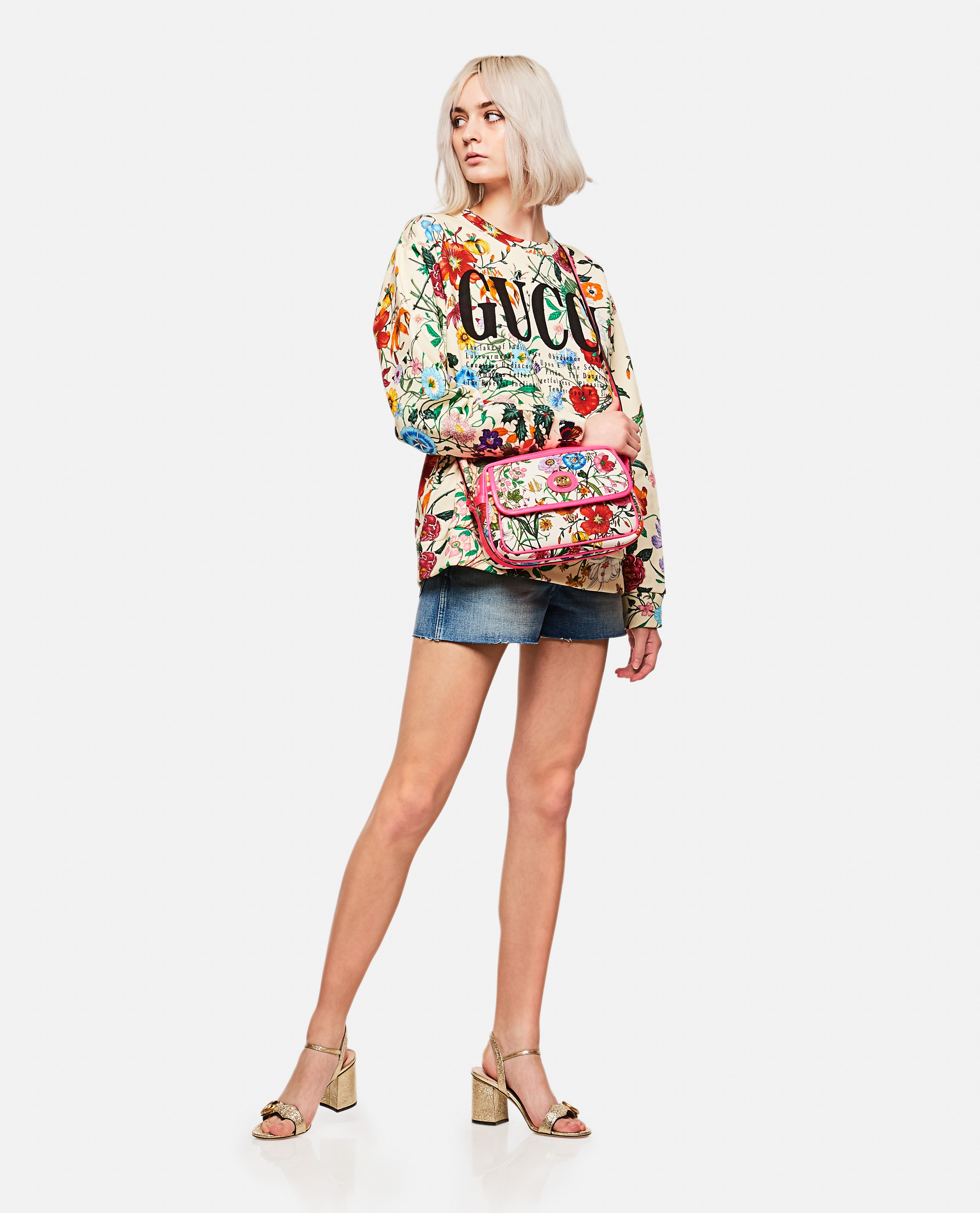 Shorts In Denim Con Patch Donna Gucci 000141950021411 4