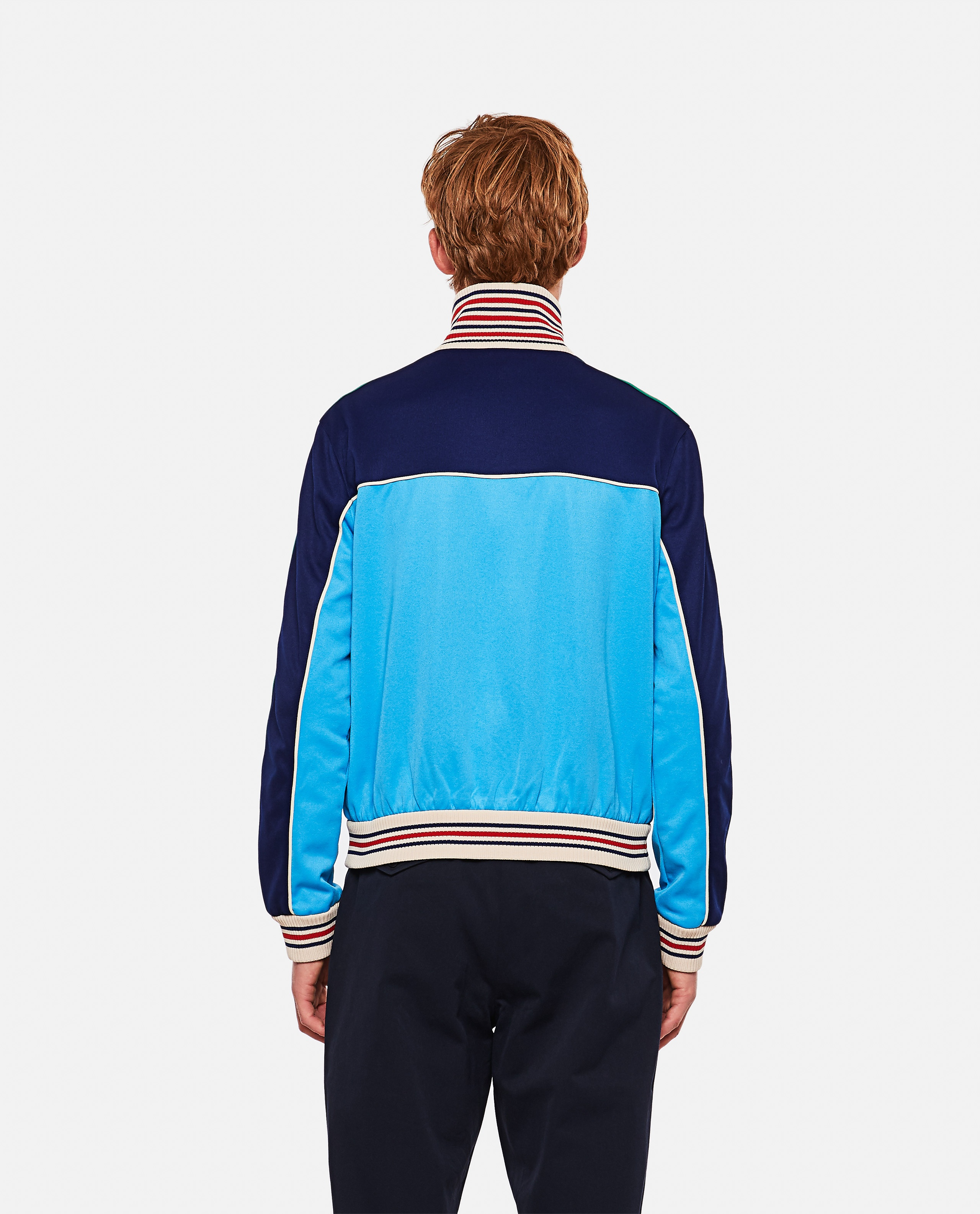 Technical jersey jacket with zip and Web tape Men Gucci 000293320043197 3