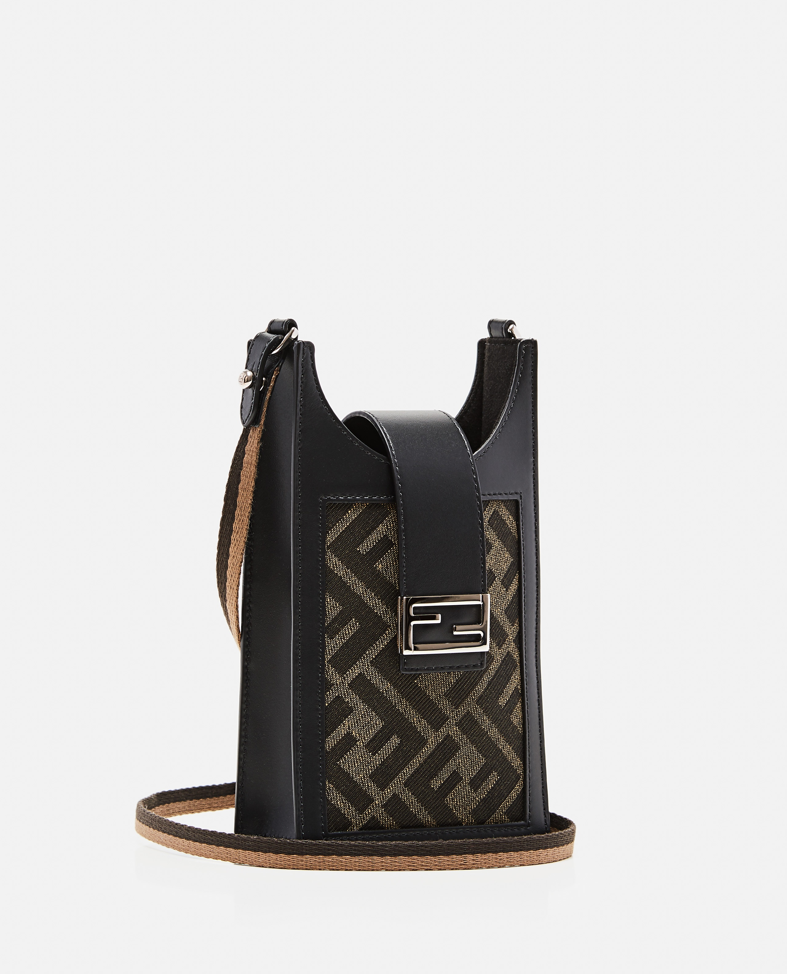Cell phone holder in brown fabric Uomo Fendi 000310470045523 2