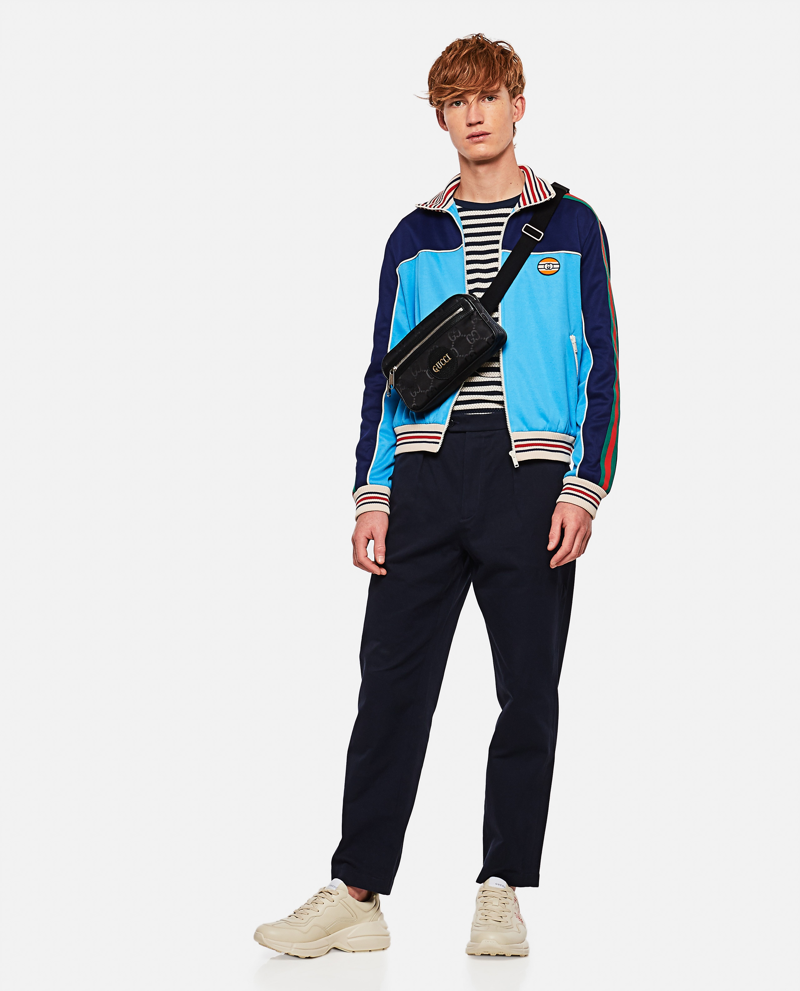 Technical jersey jacket with zip and Web tape Men Gucci 000293320043197 2
