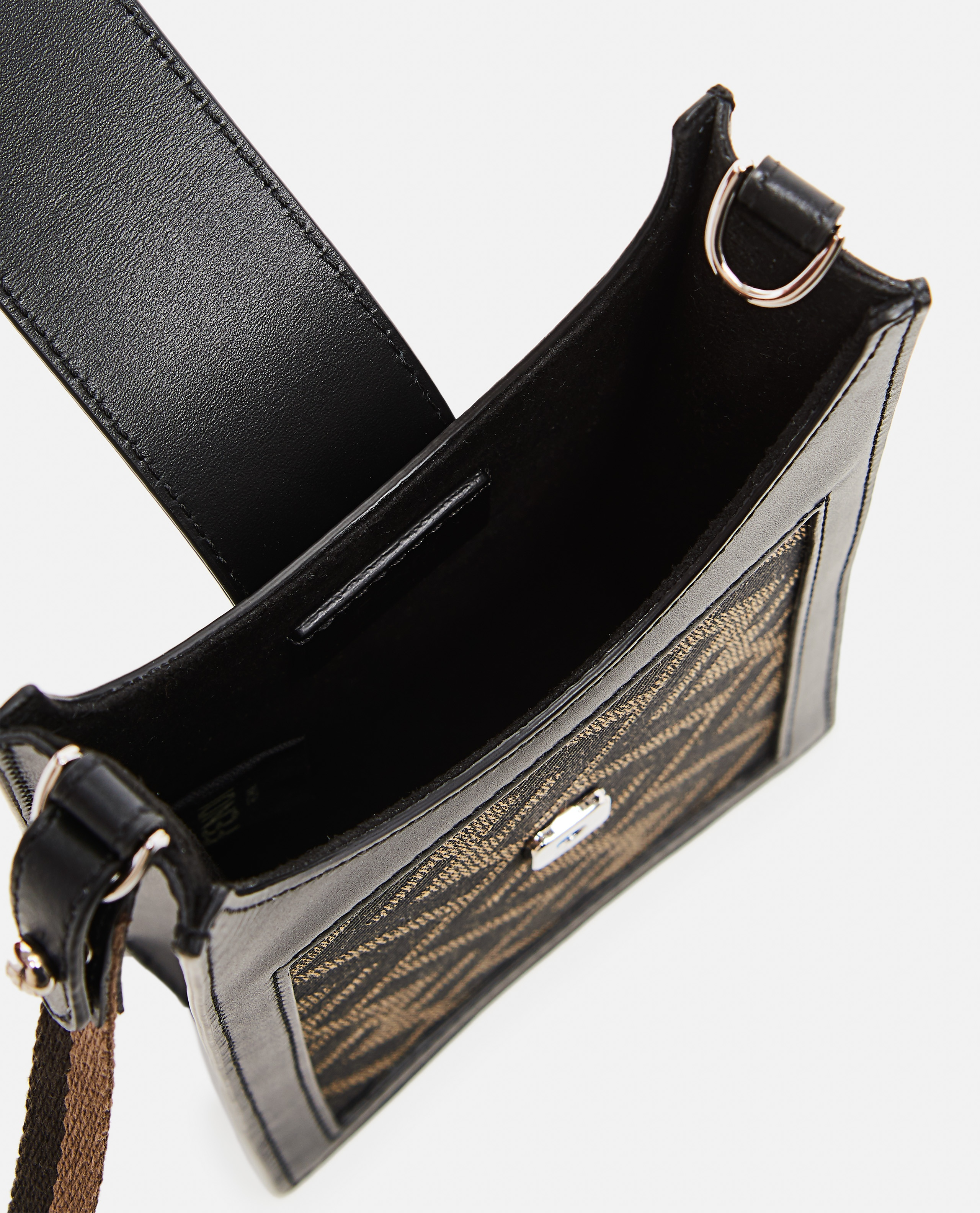 Cell phone holder in brown fabric Uomo Fendi 000310470045523 4