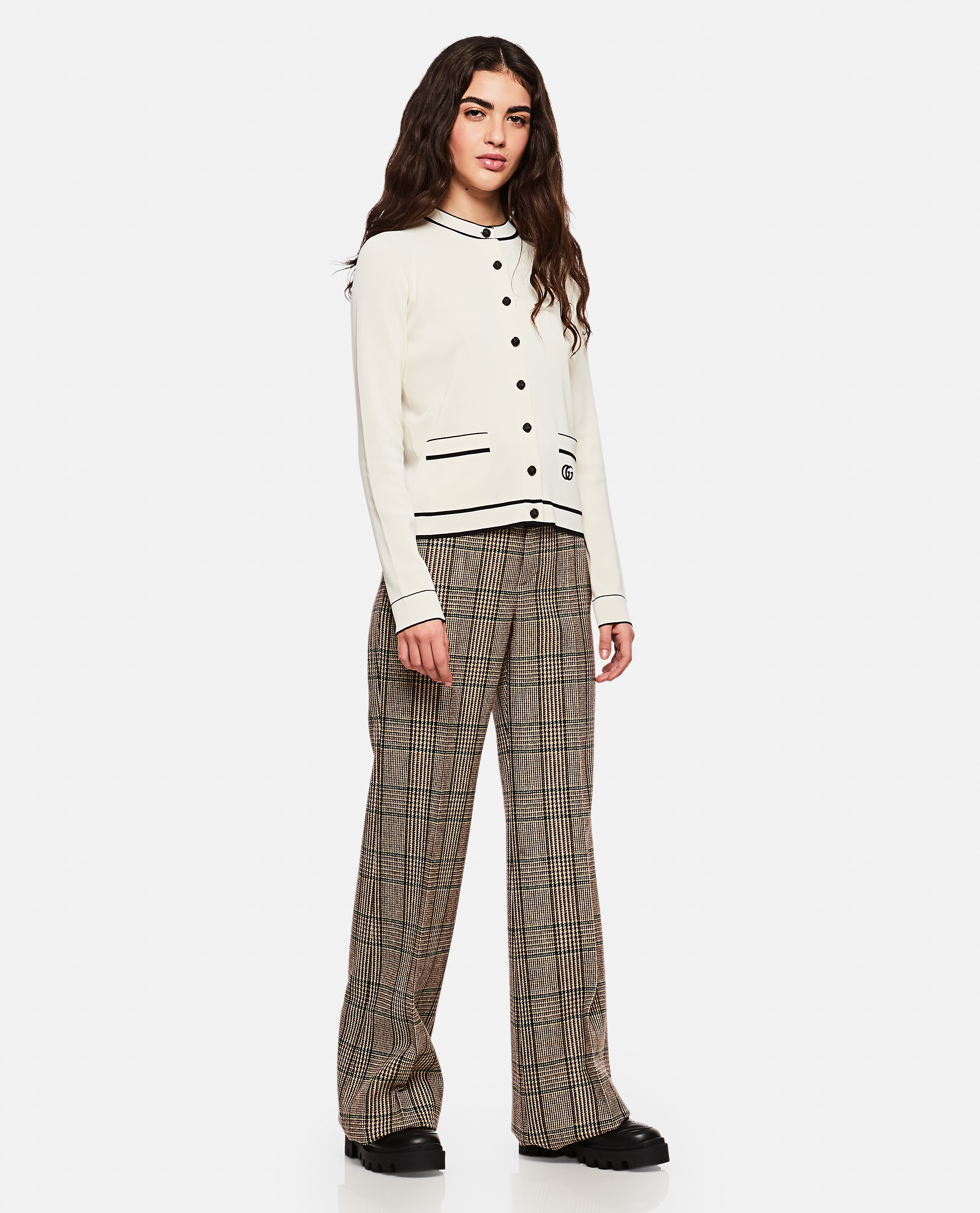 Prince of Wales pattern wool trousers Women Gucci 000274000040356 2