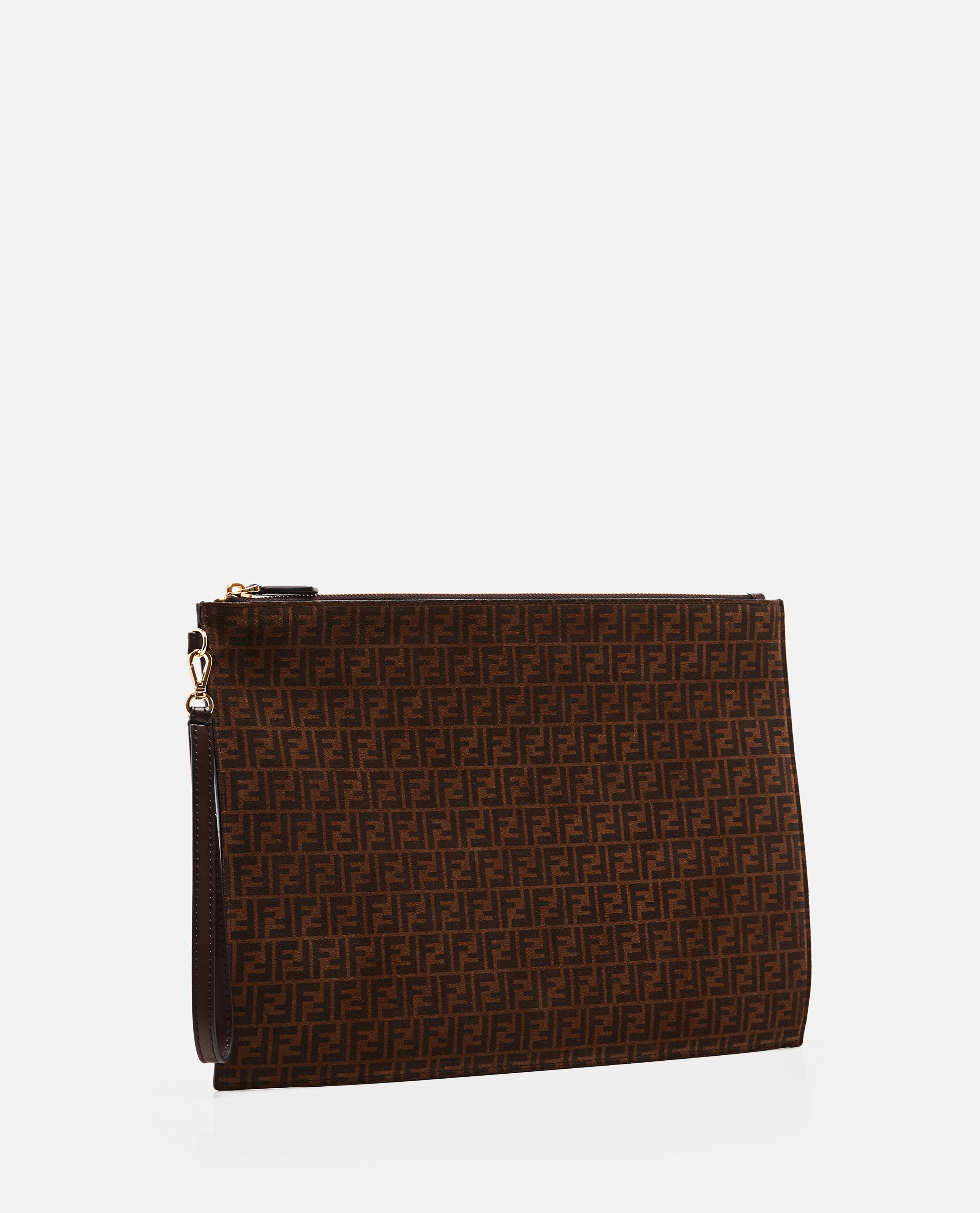 Large flat pouch in leather Donna Fendi 000310150045483 2