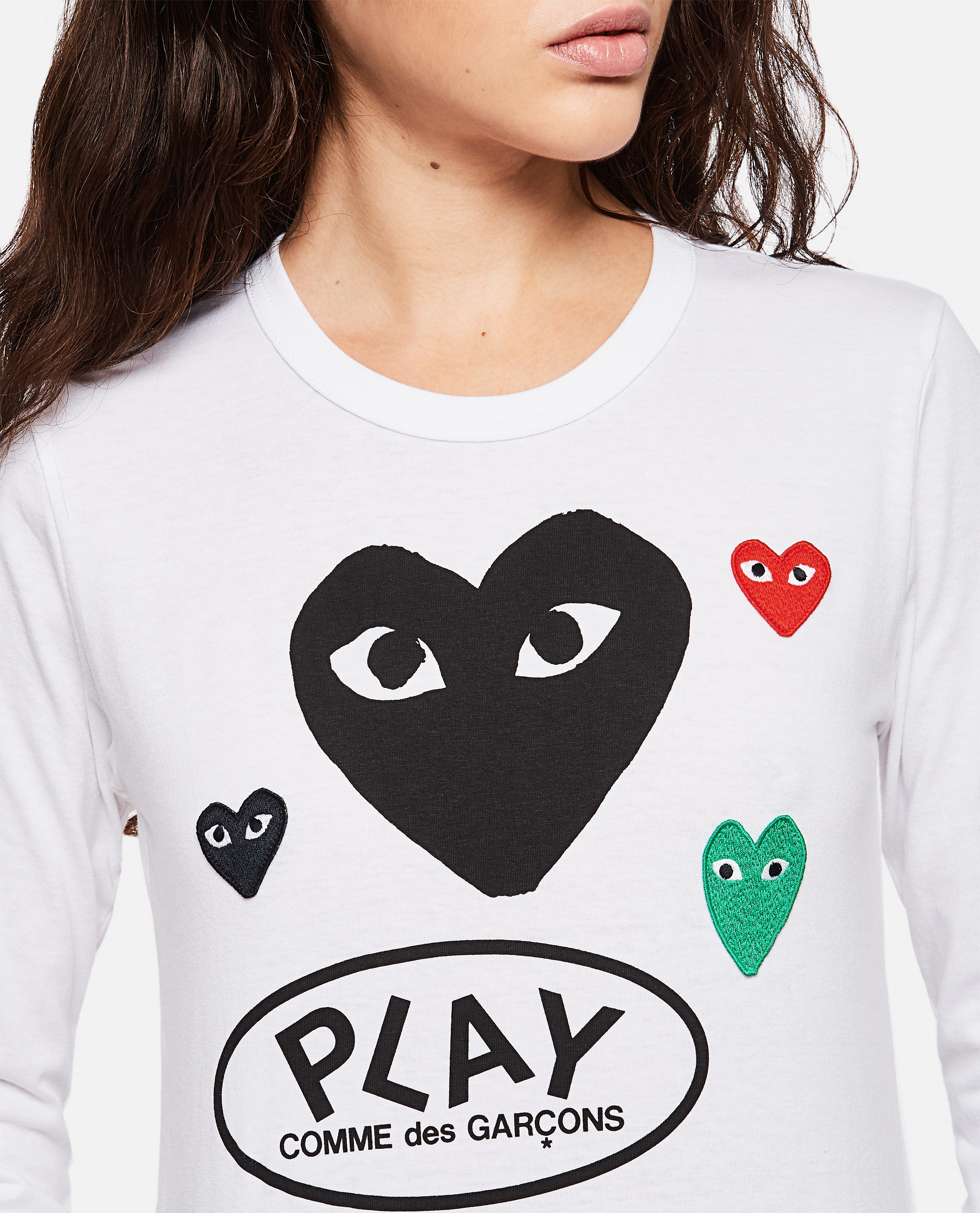 T-shirt with logo and hearts print Women Comme des Garcons Play 000267280039438 4