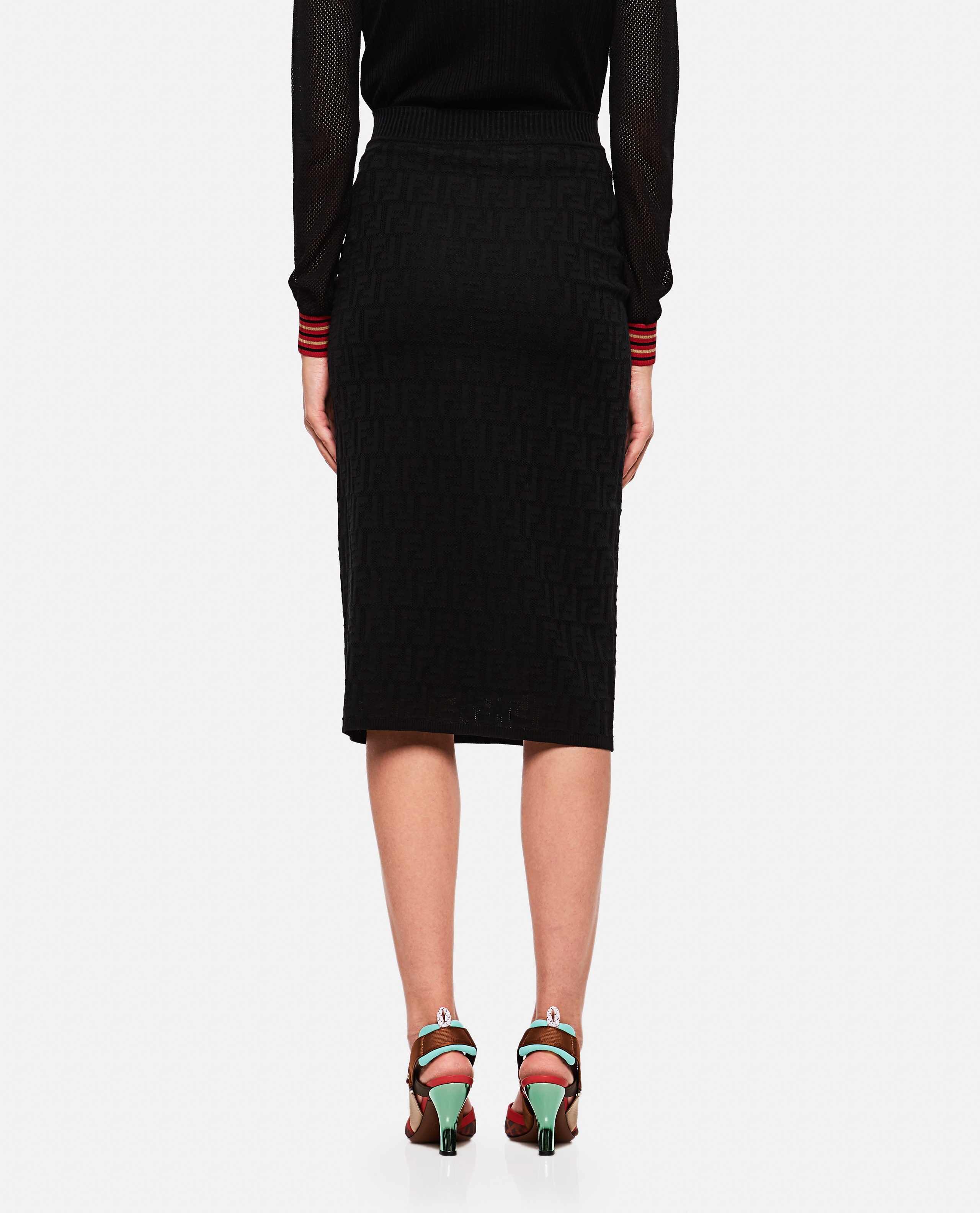 Knitted Skirt With Ff Motif Women Fendi 000190250028262 3