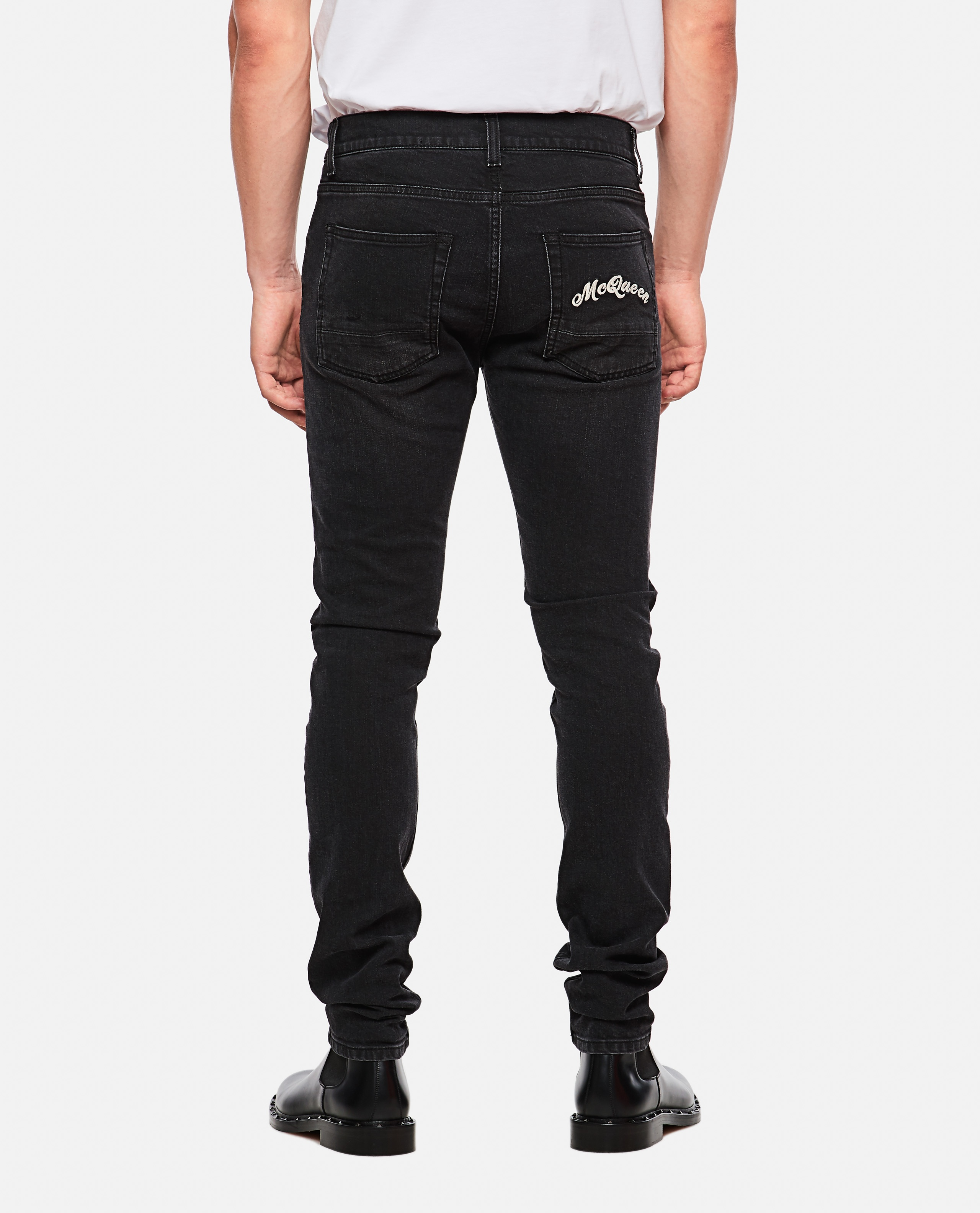 Slim fit jeans with embroidery Men Alexander McQueen 000179840026772 3