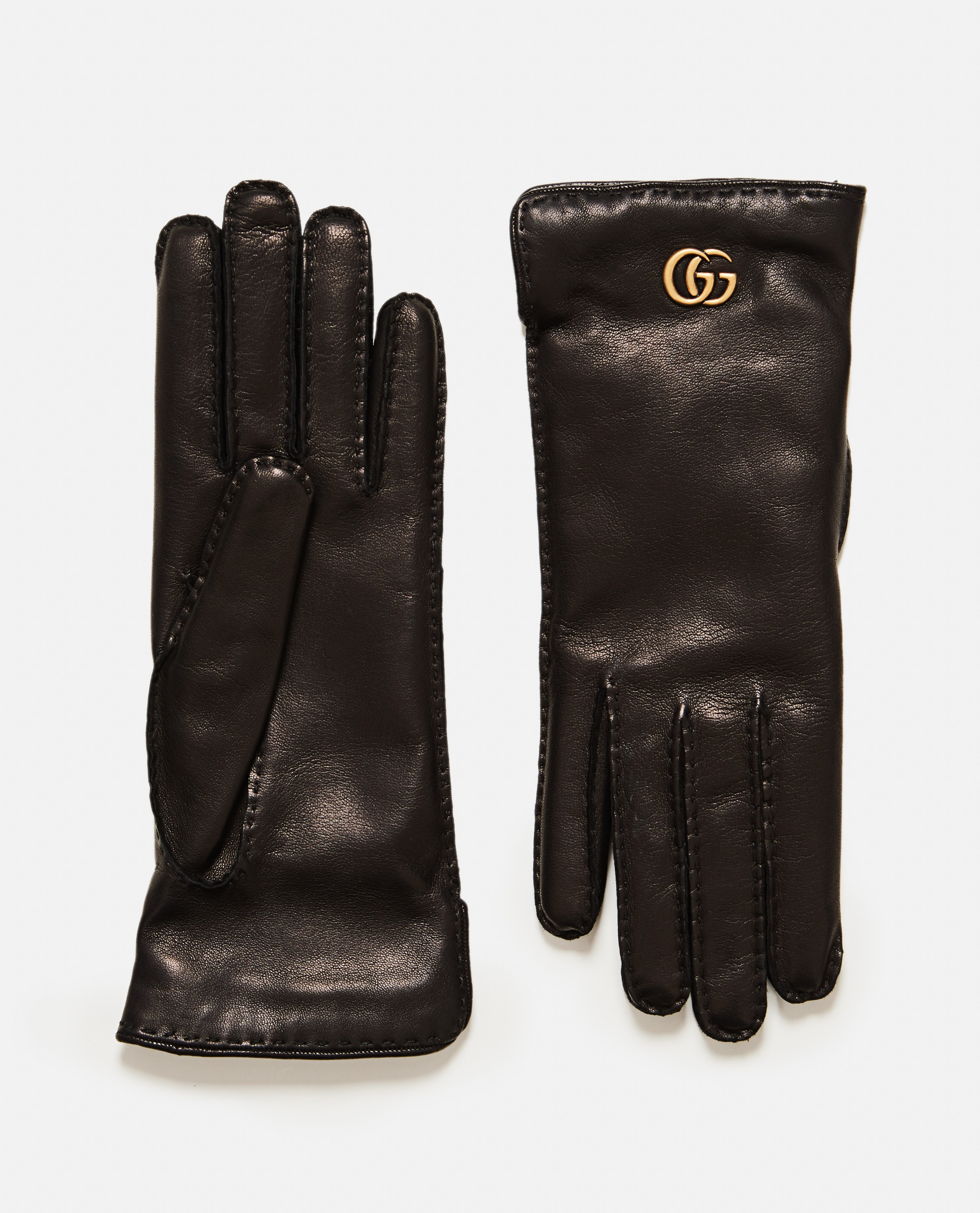 Leather gloves with Double G Women Gucci 000189440028137 1