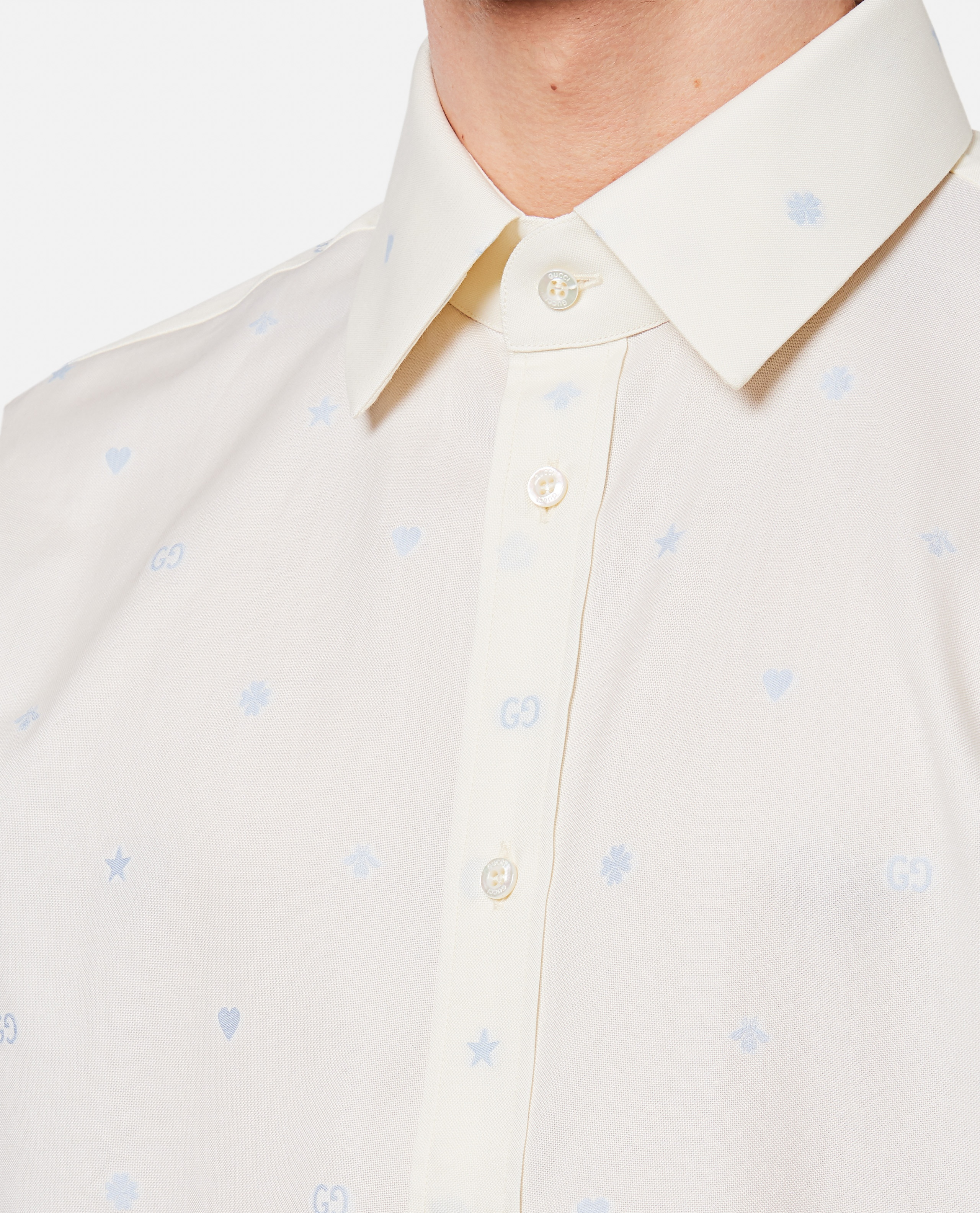 Fil coupé Oxford shirt with a mix of symbols motif  Men Gucci 000292860043142 4