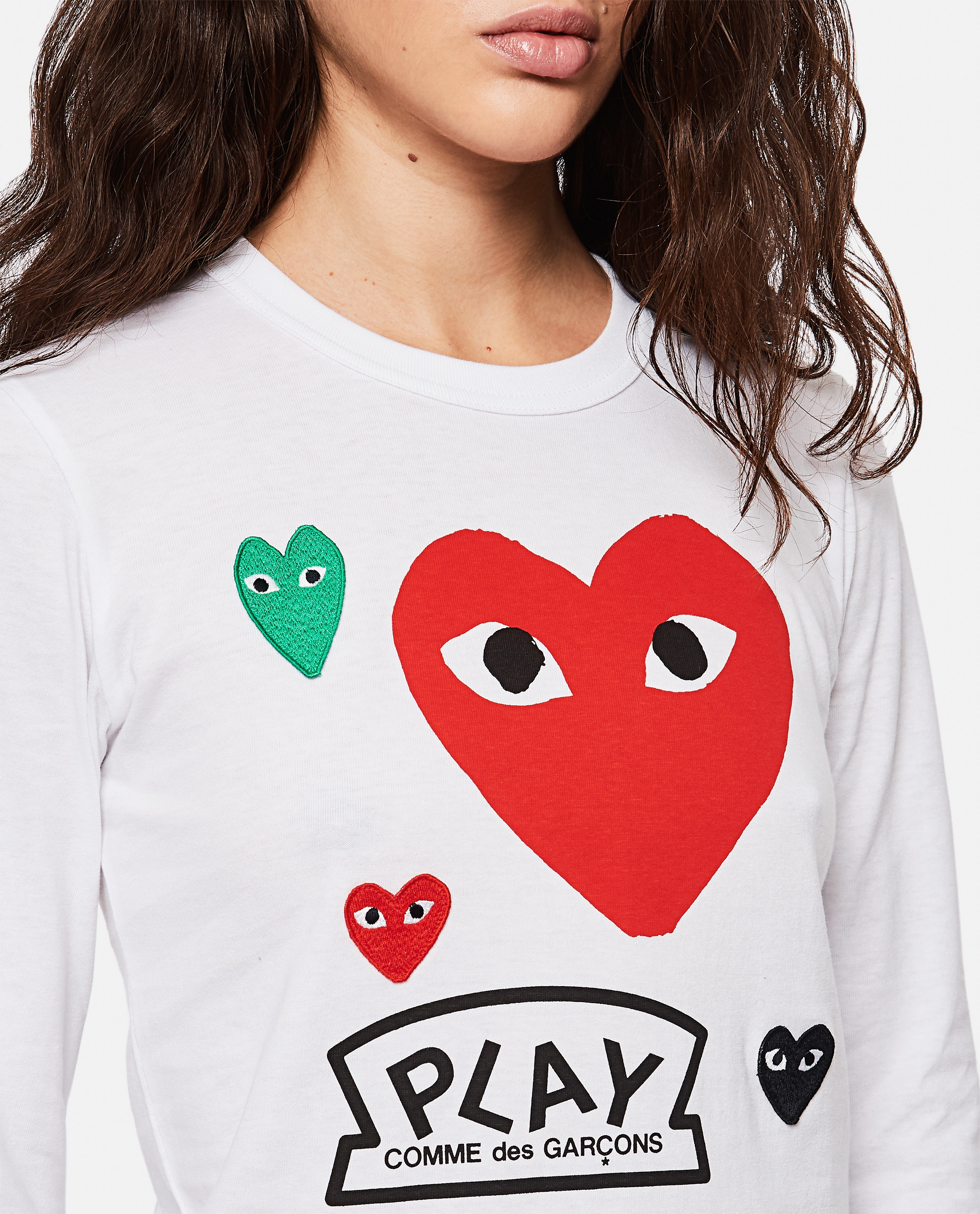T-shirt with logo and hearts print Women Comme des Garcons Play 000267270039437 4