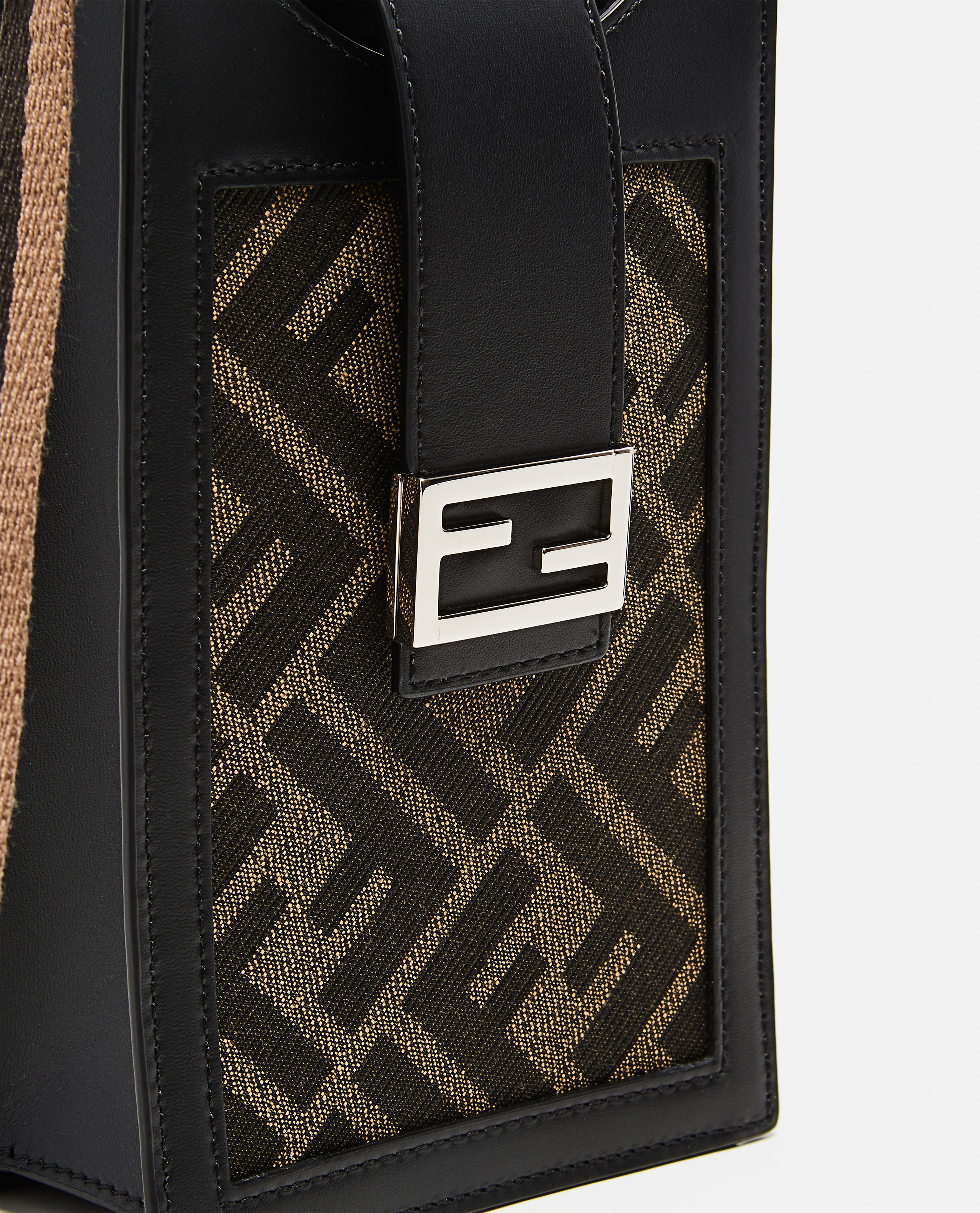 Cell phone holder in brown fabric Uomo Fendi 000310470045523 3
