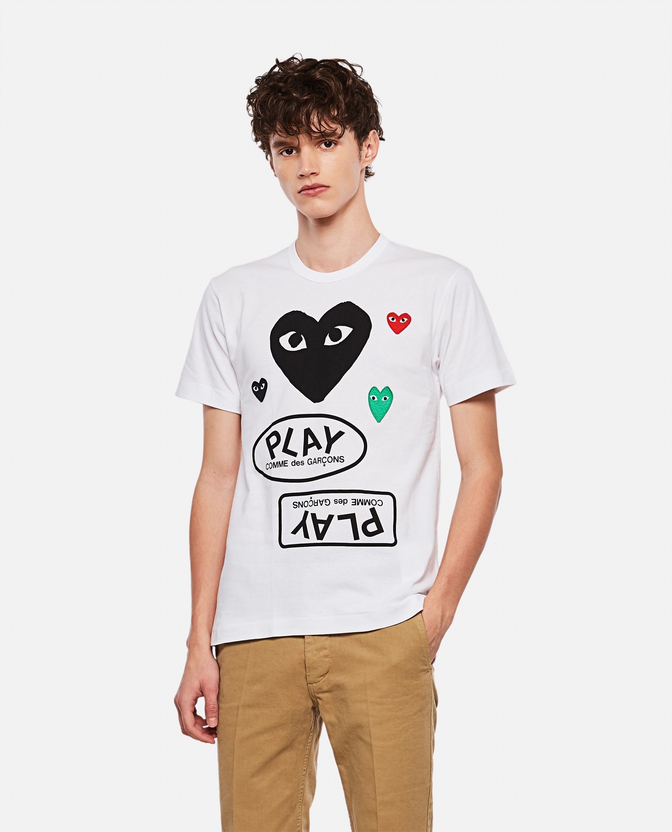 T-shirt with logo and hearts print Men Comme des Garcons Play 000267370039452 1