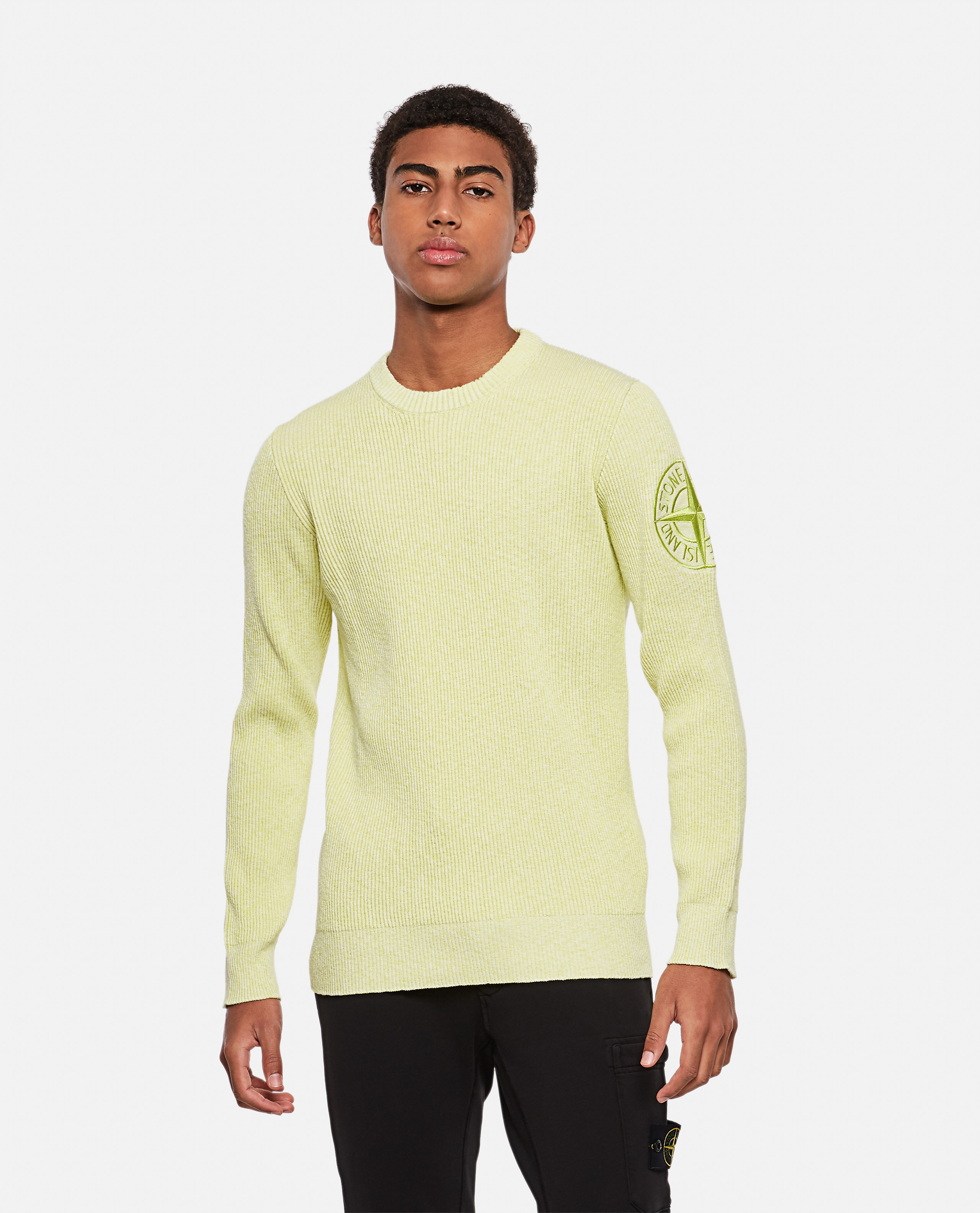 Ribbed sweater with logo patch Men Stone Island 000292750043124 1