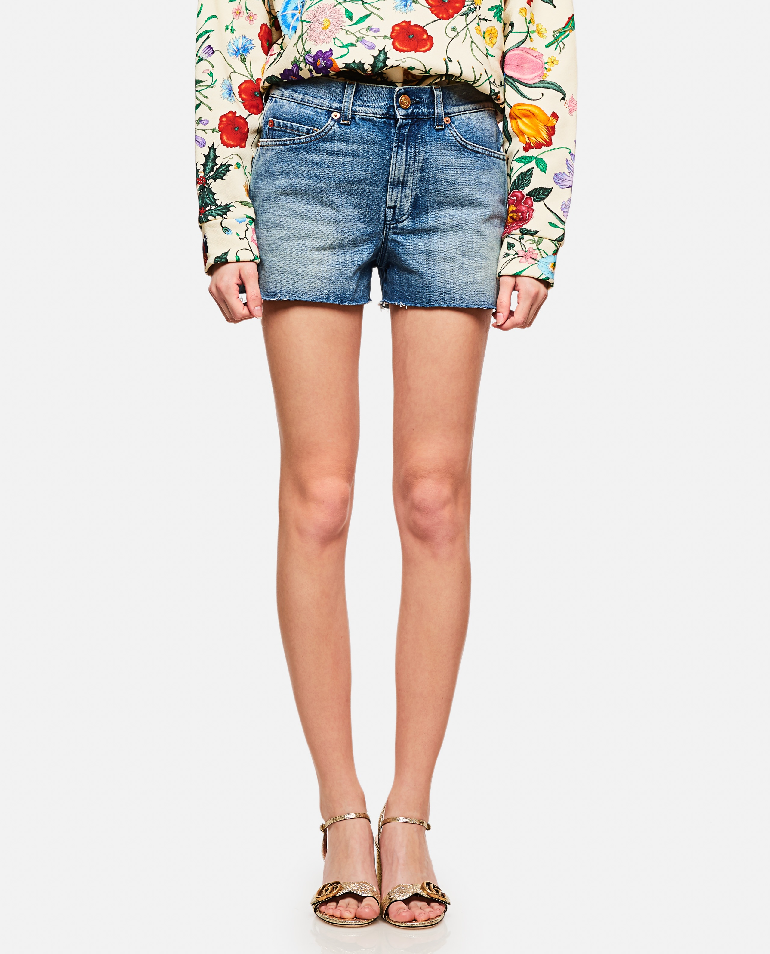 Shorts In Denim Con Patch Donna Gucci 000141950021411 1