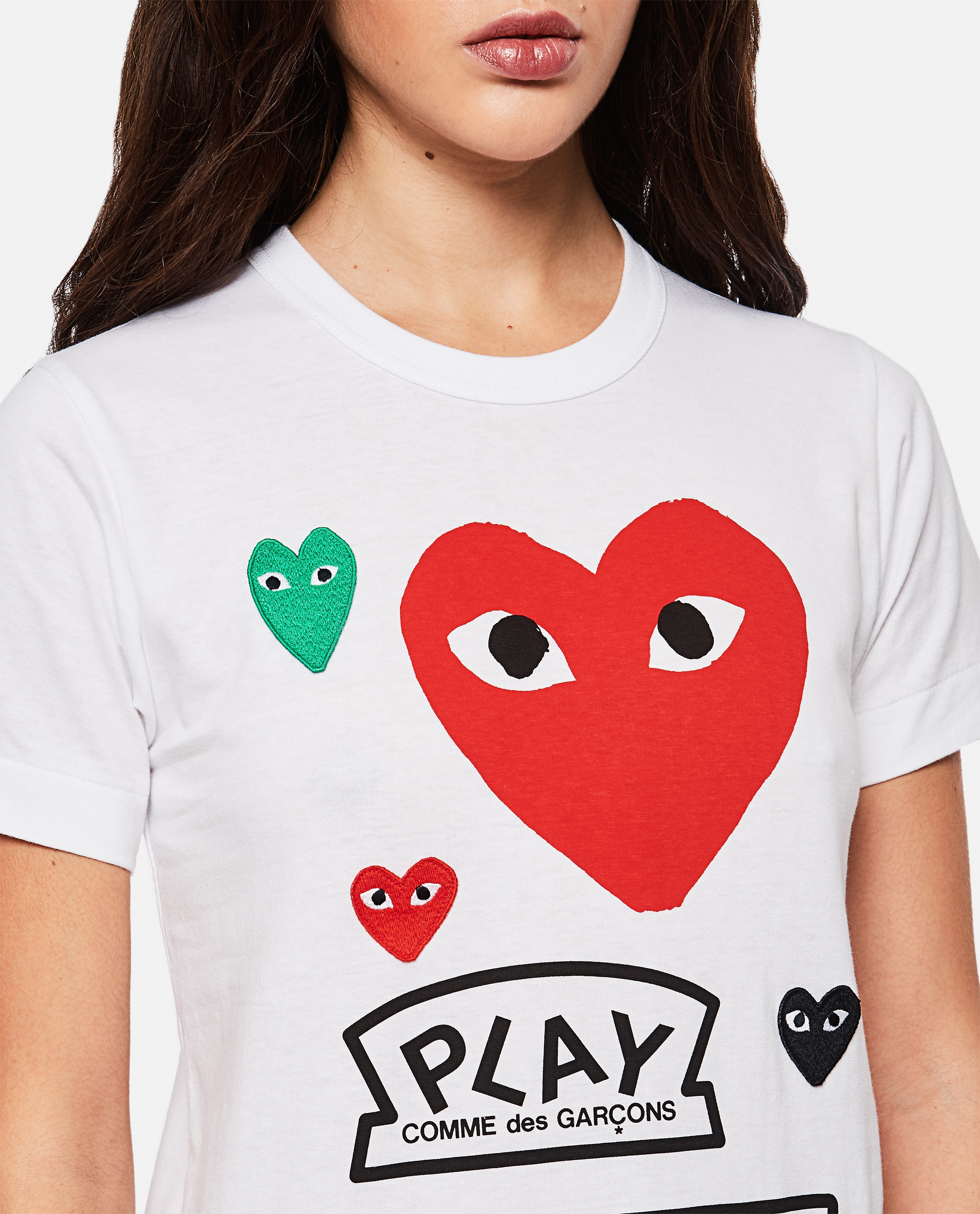 T-shirt with logo and hearts print Women Comme des Garcons Play 000267250039435 4