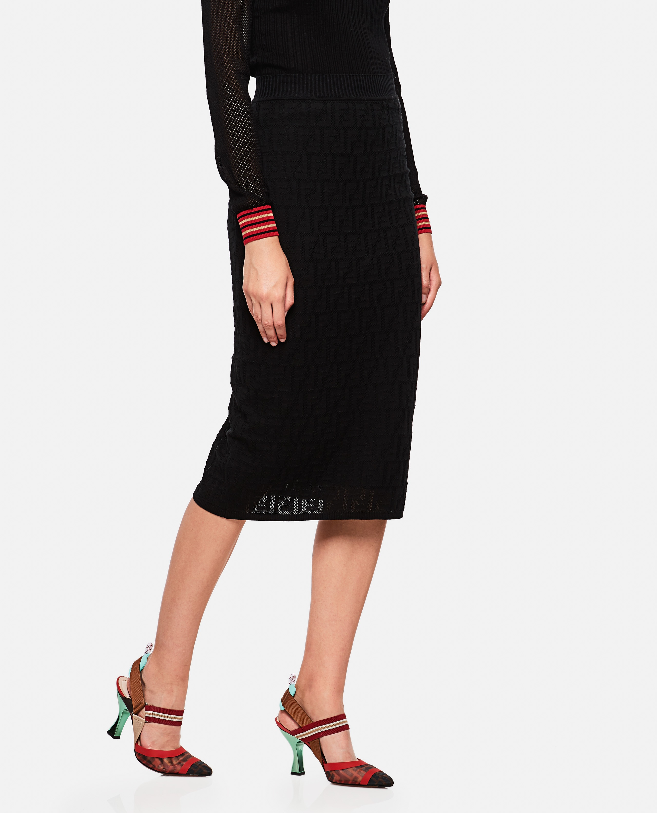 Knitted Skirt With Ff Motif Women Fendi 000190250028262 1