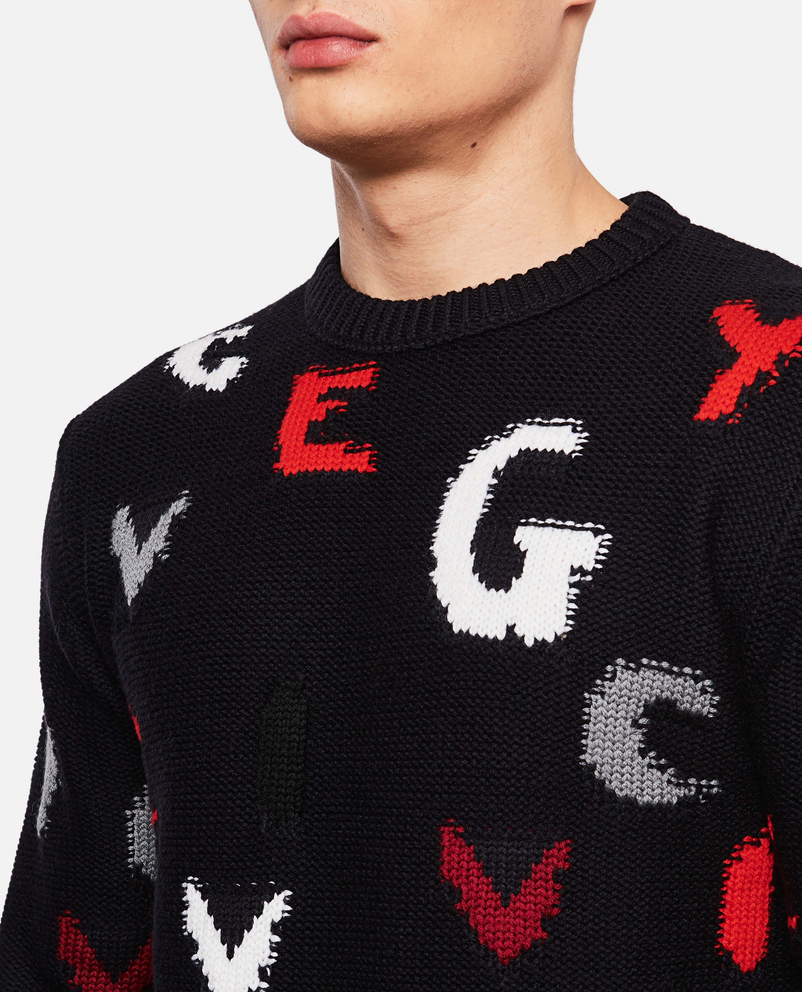 Crew-neck pullover with GIVENCHY letters Men Givenchy 000135780033491 4