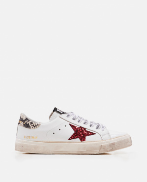 May star red glit sneakers